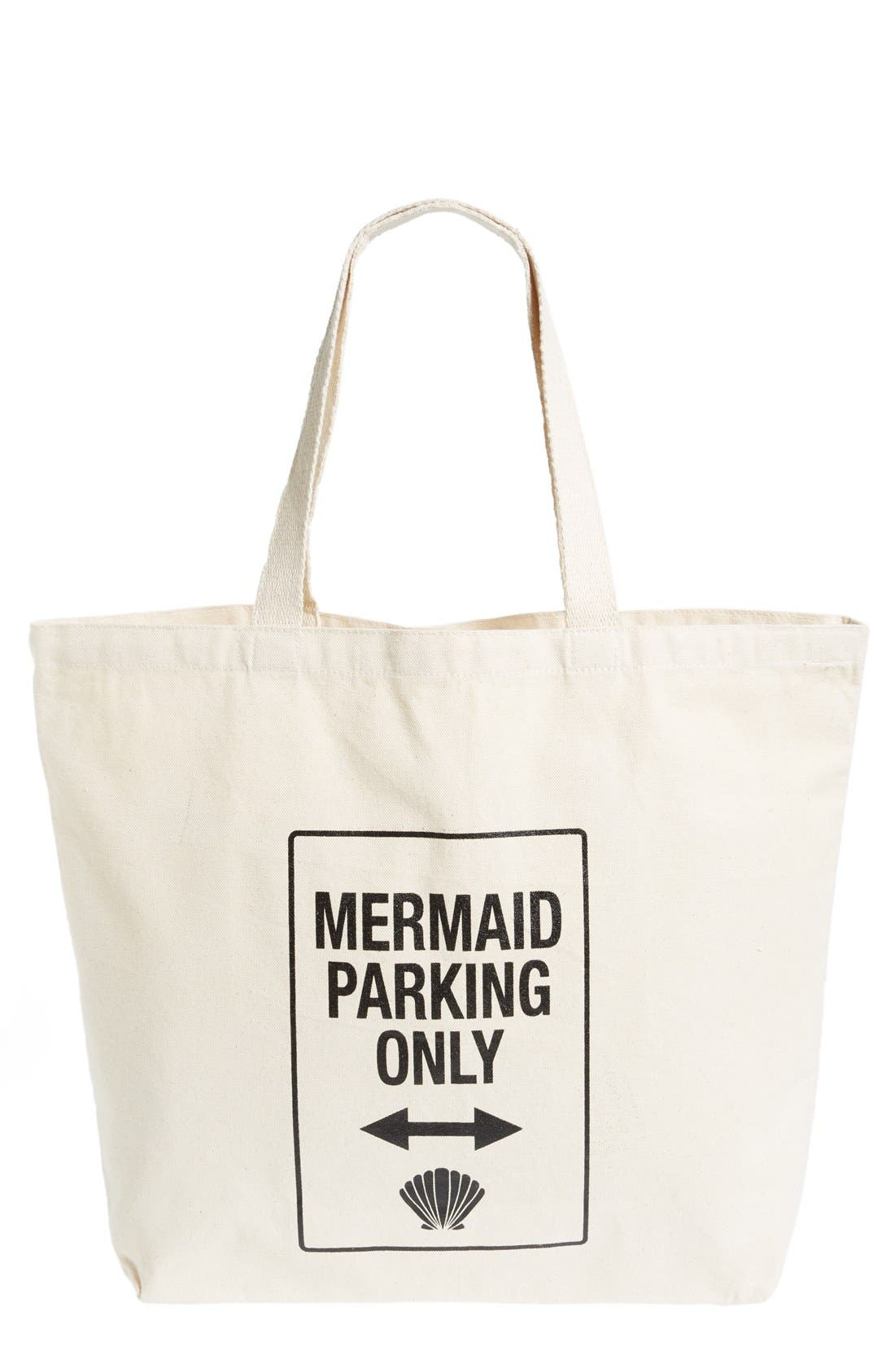 Alternate Image 1 Selected - WORKSHOP 28 'Mermaid Parking Only' Canvas Tote