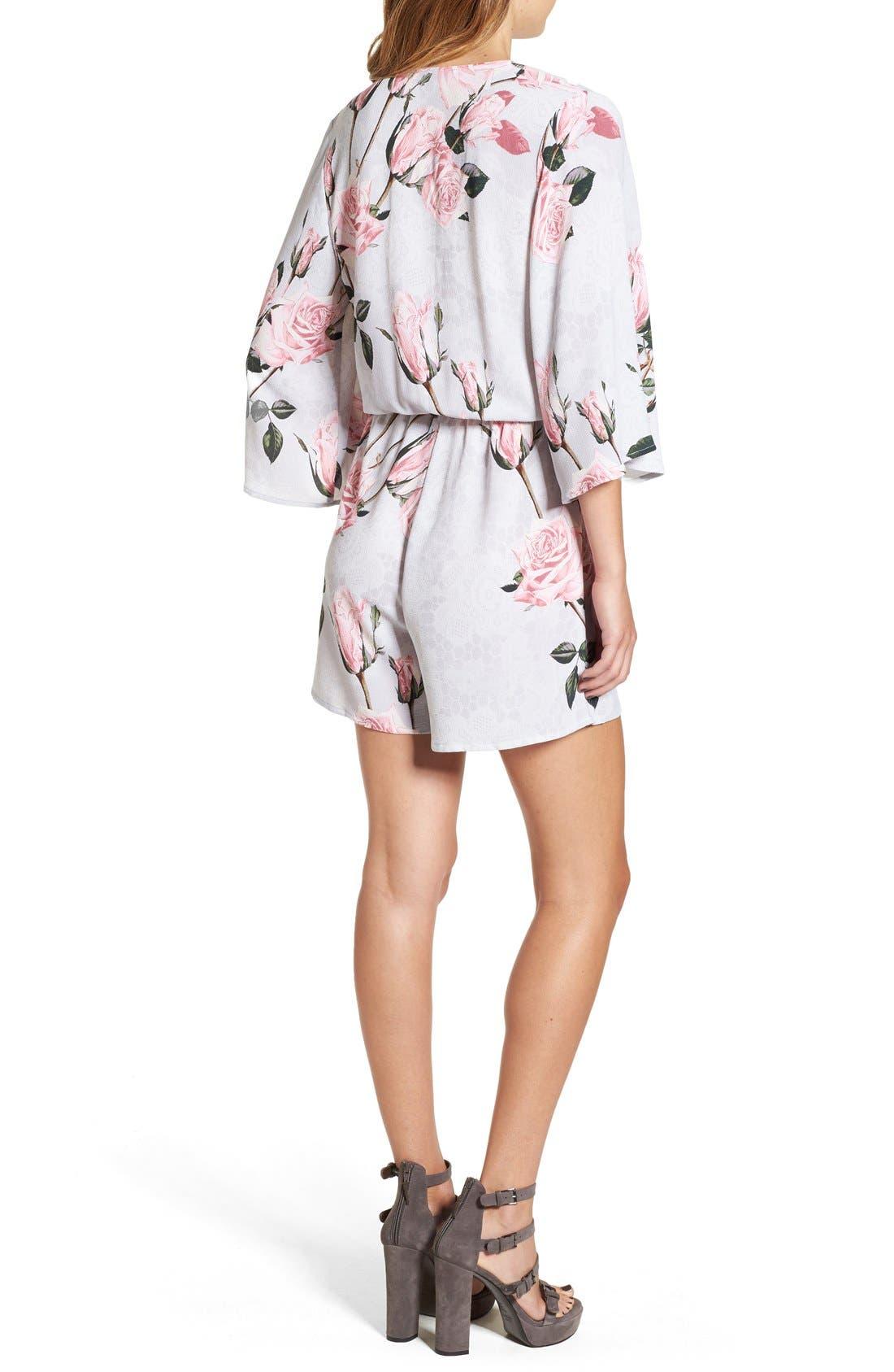 Alternate Image 2  - Glamorous Floral Print Lace Kimono Romper