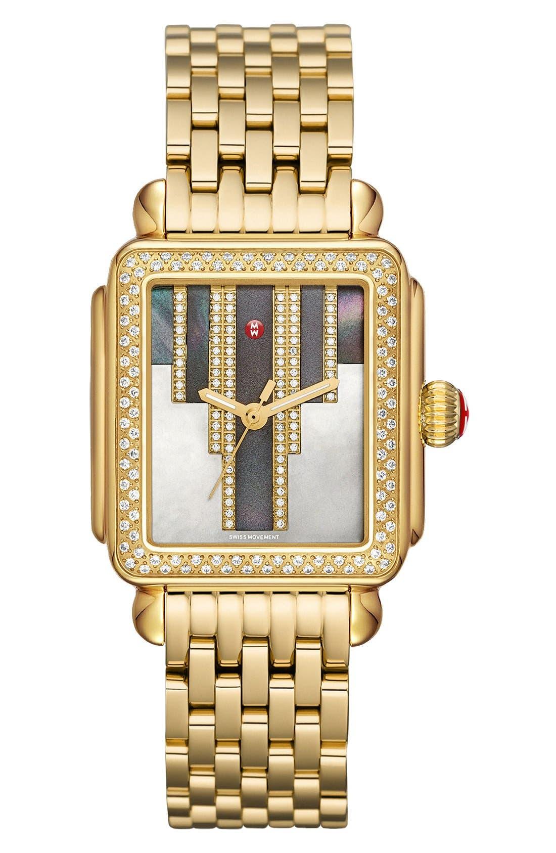 Deco Skyline Diamond Diamond Dial Watch Case, 33mm,                             Alternate thumbnail 2, color,                             Gold