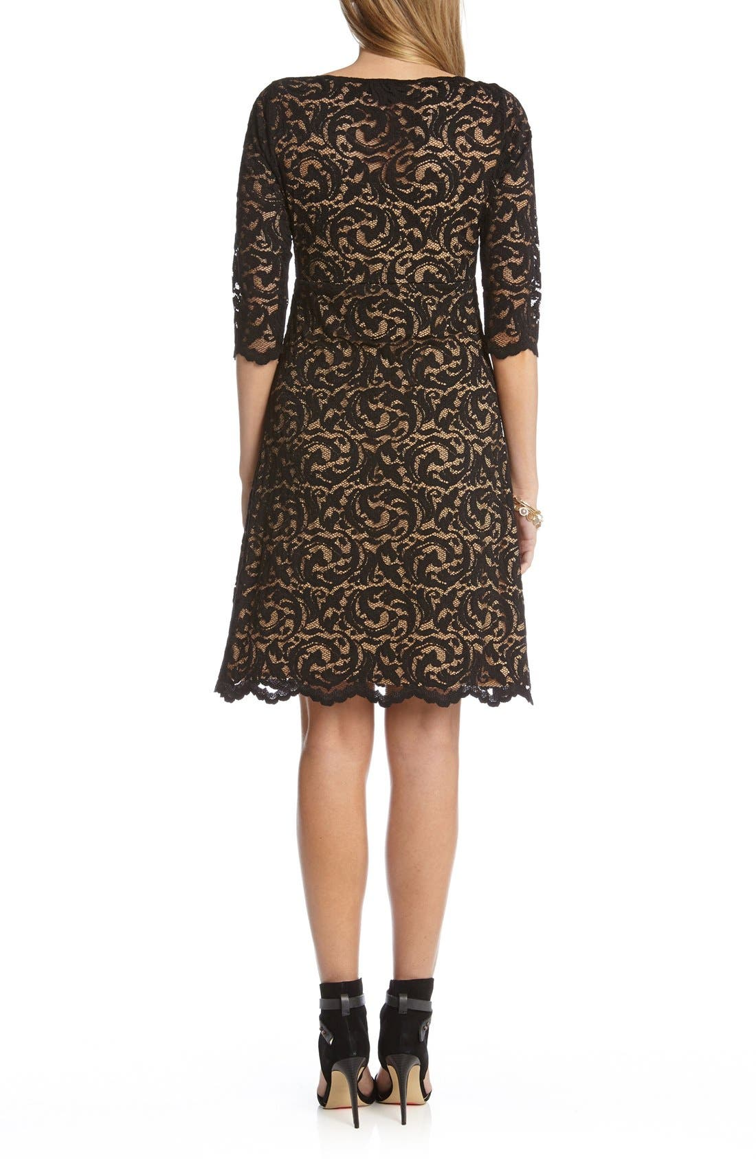Scalloped Lace V-Neck Dress,                             Alternate thumbnail 2, color,                             Black/ Nude