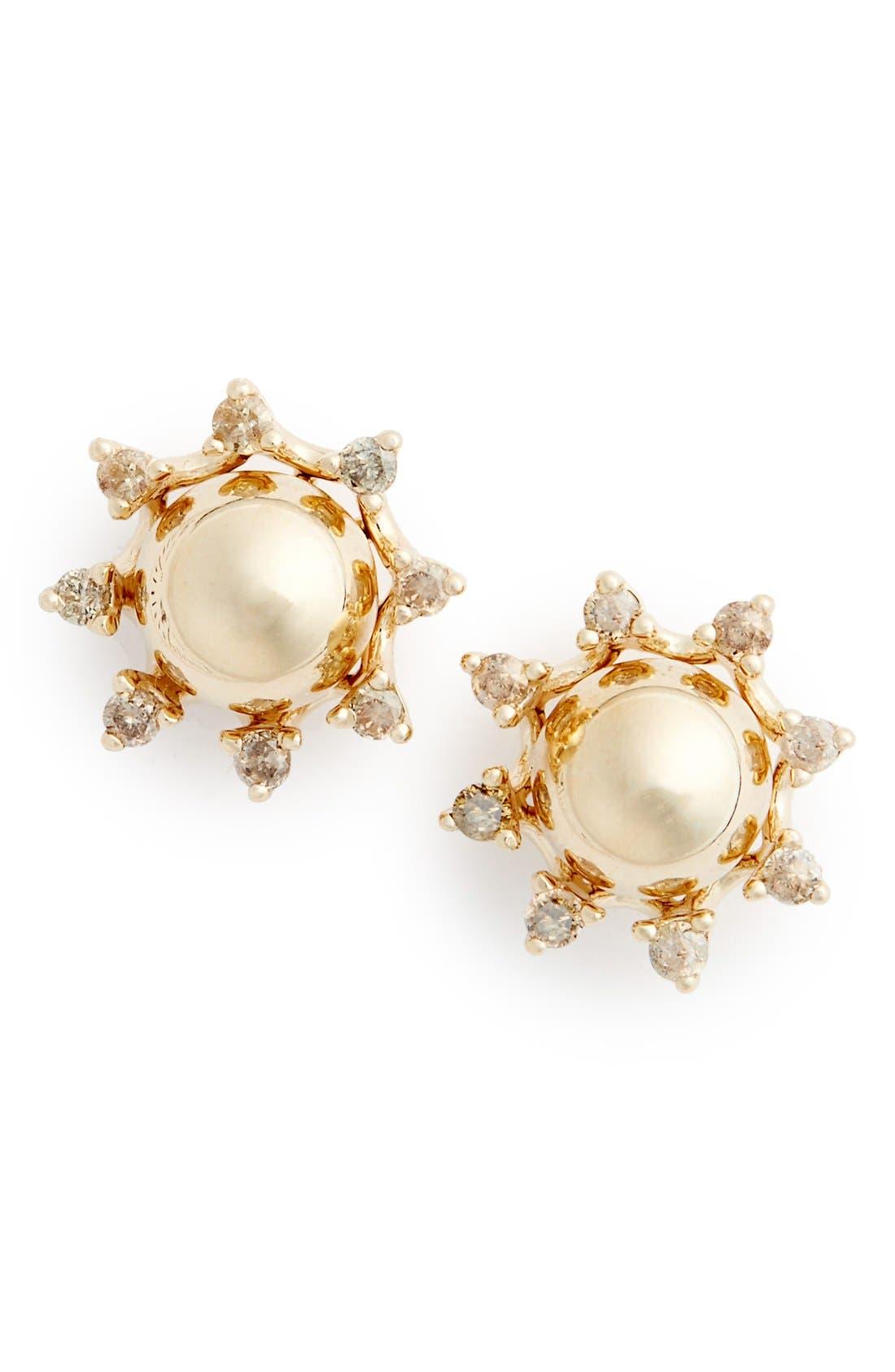 ANNA SHEFFIELD Starlight Champagne Diamond Stud Earrings