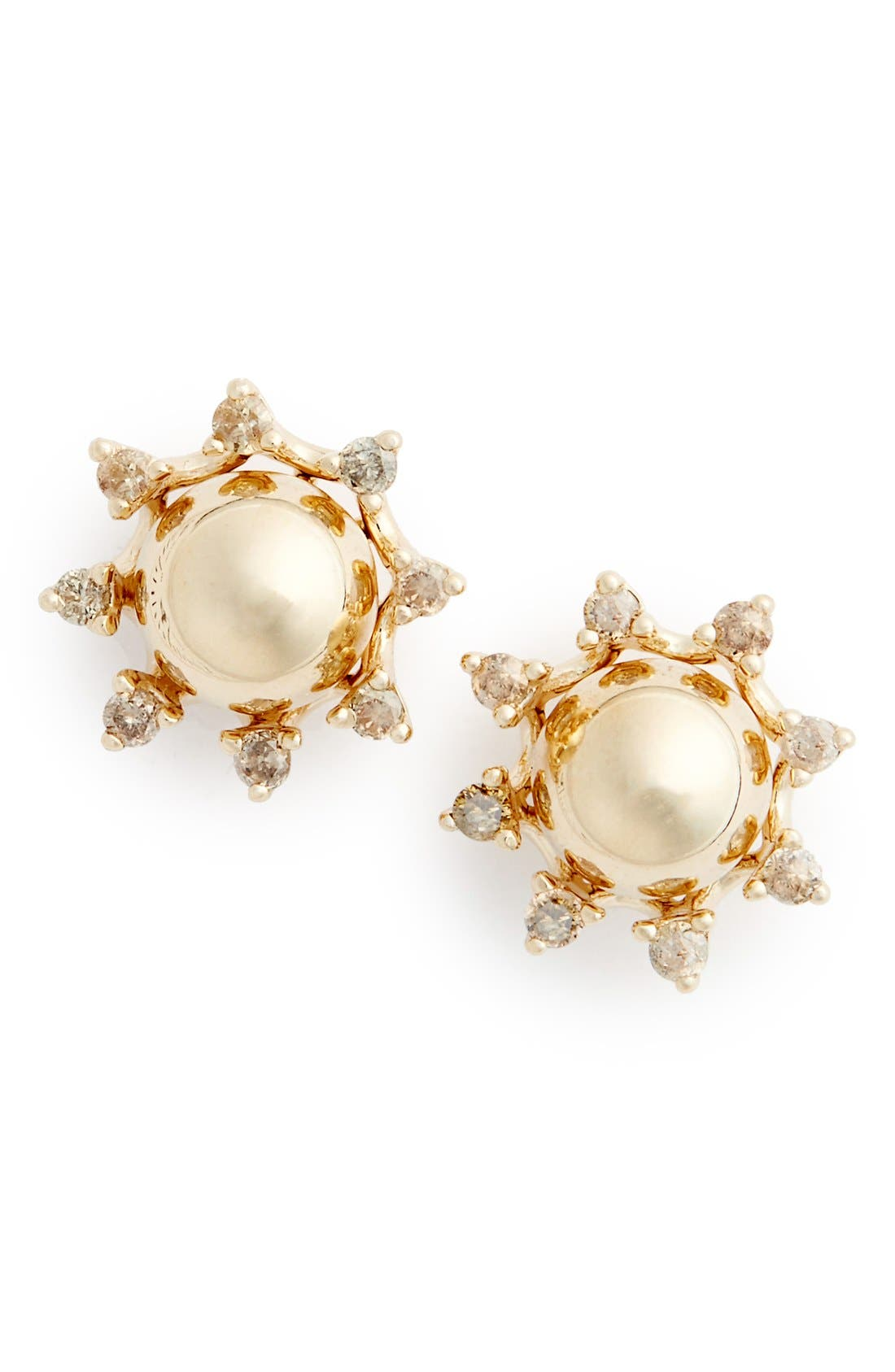 'Starlight' Champagne Diamond Stud Earrings,                             Main thumbnail 1, color,                             Yellow/ Gold/ Champagne