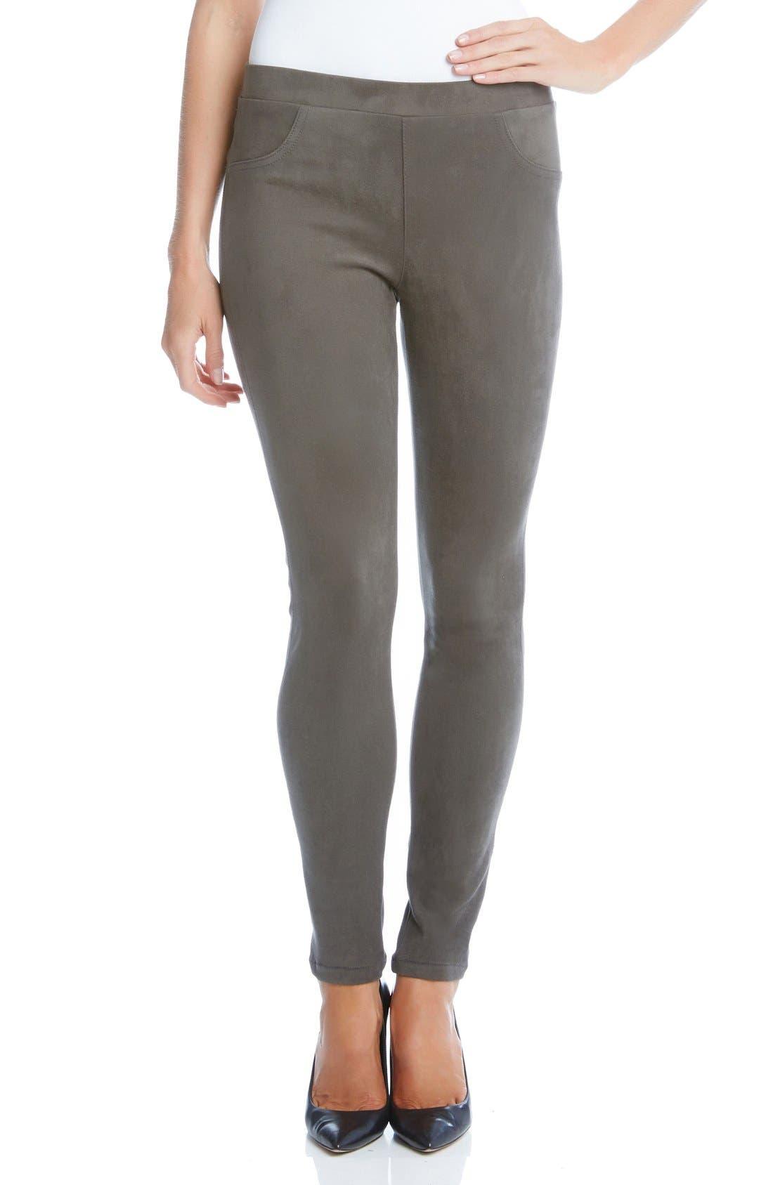 Faux Suede Knit Skinny Pants,                         Main,                         color, Slate