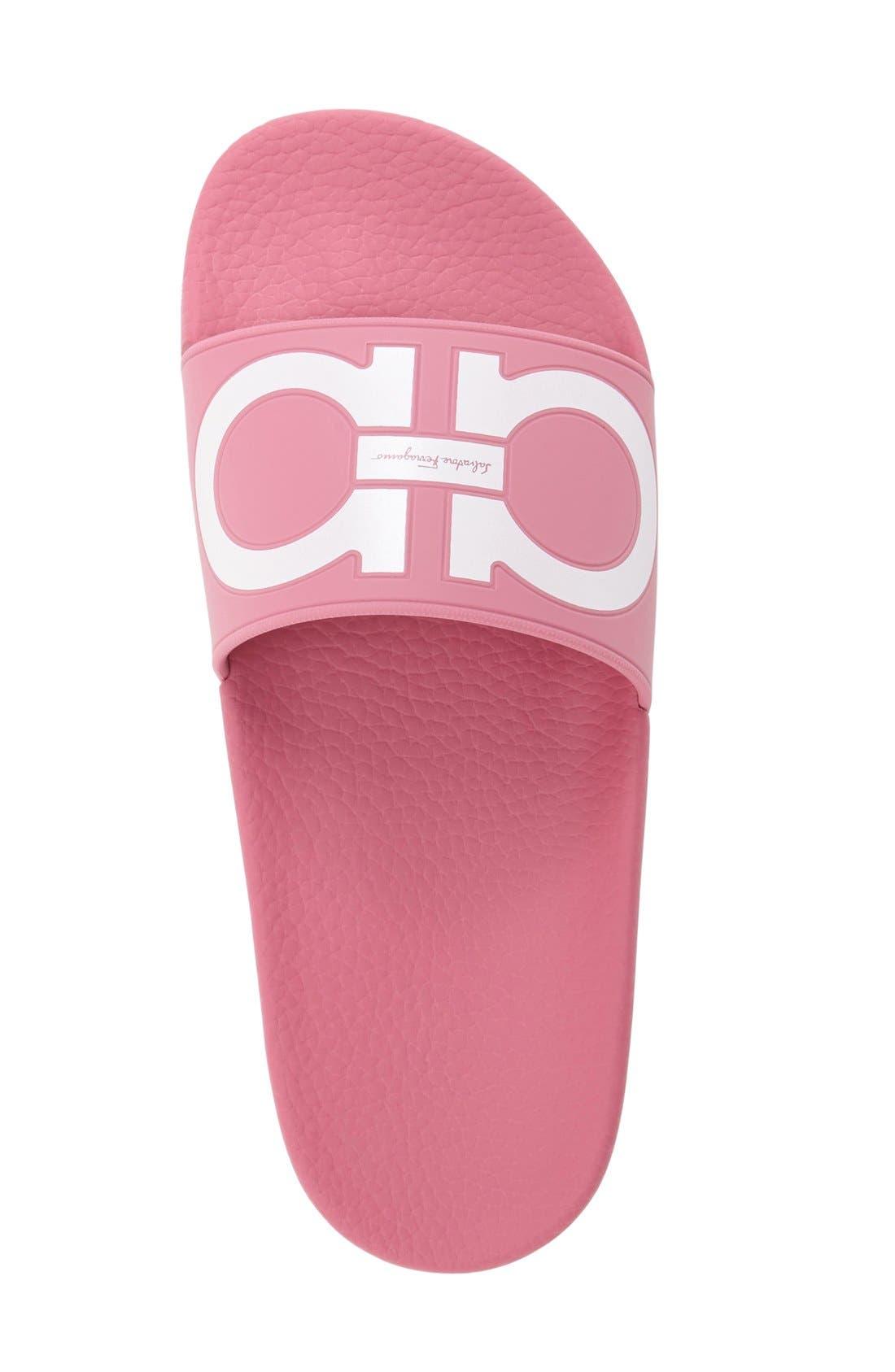 Groove Logo Slide Sandal,                             Alternate thumbnail 3, color,                             Bubble Gum Pink/ White