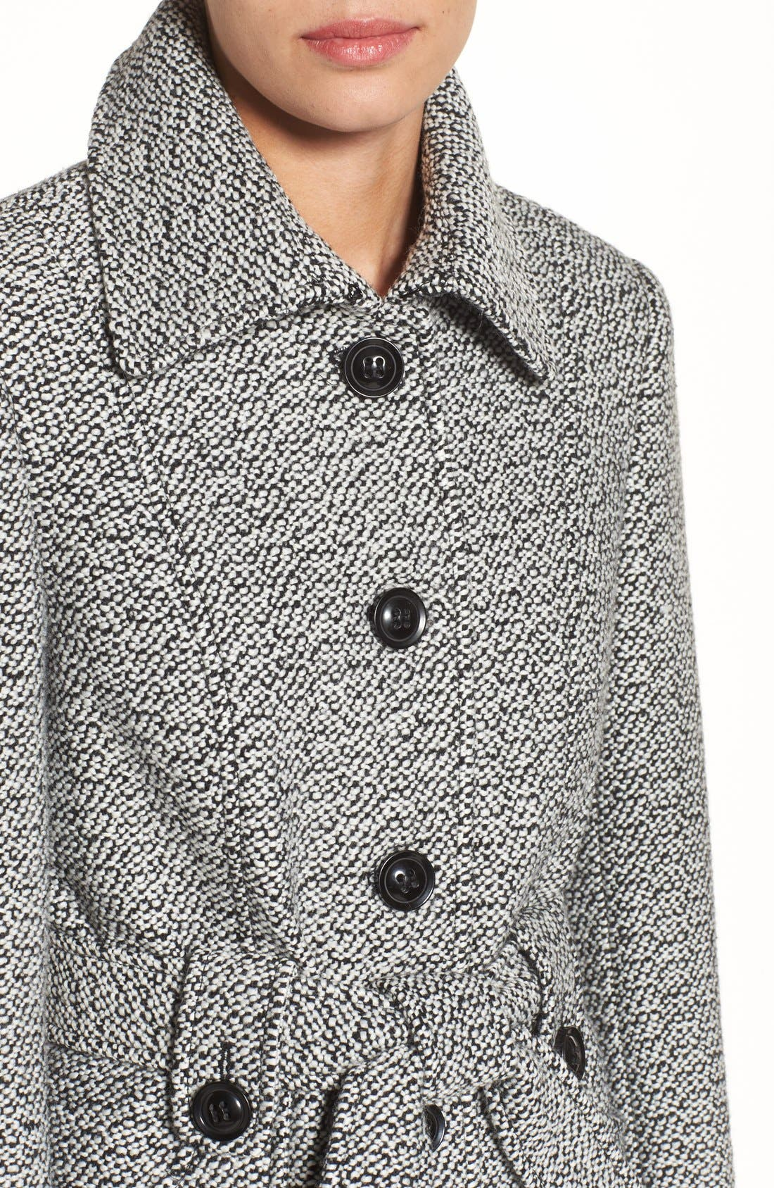 Belted Tweed Coat,                             Alternate thumbnail 5, color,                             Black/ White