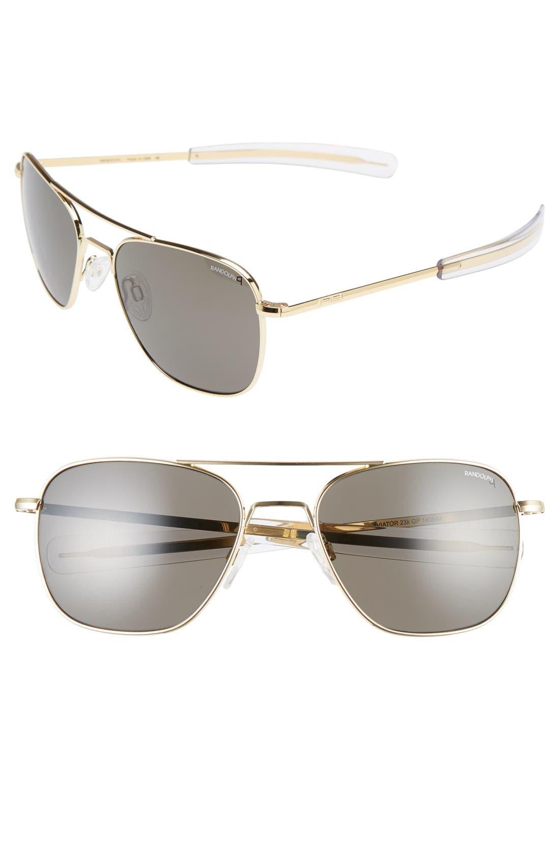 58mm Polarized Aviator Sunglasses,                         Main,                         color, 23 K Gold