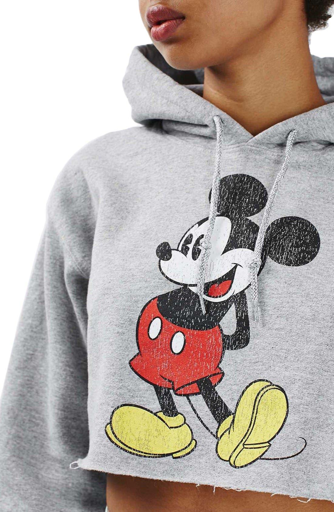 Alternate Image 4  - Topshop Mickey Graphic Crop Hoodie