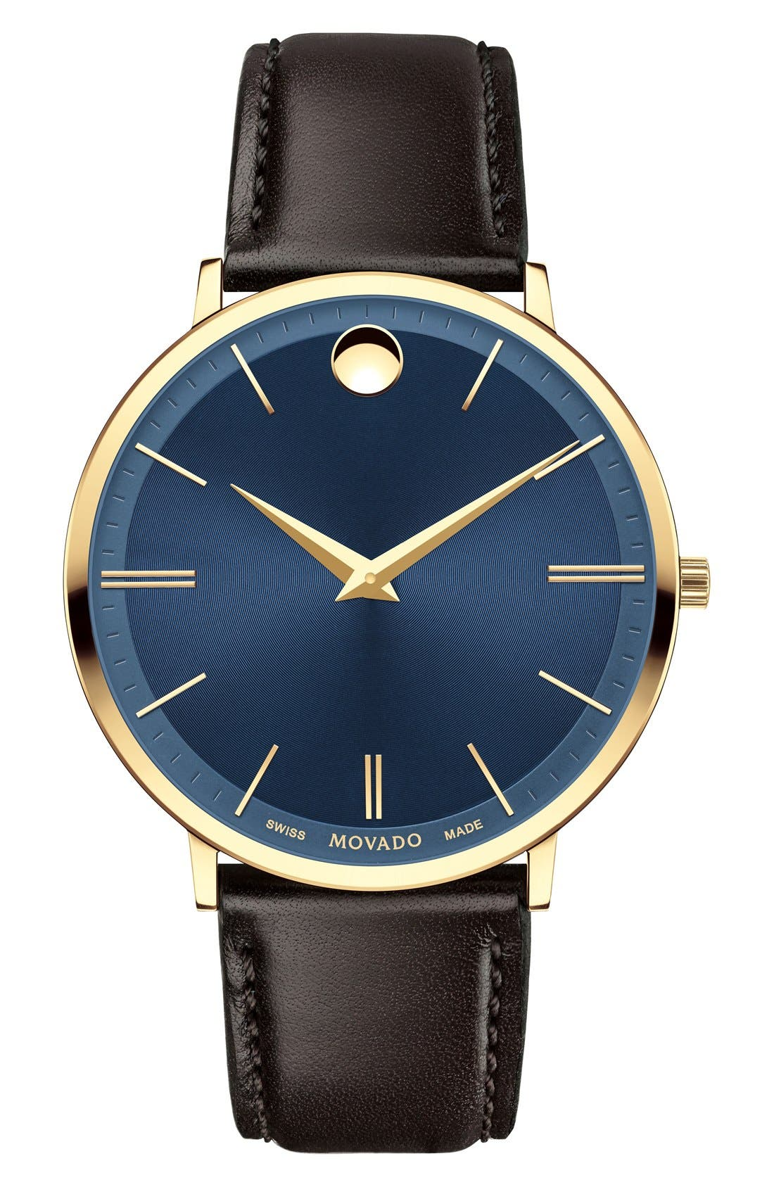 'Ultra Slim' Leather Strap Watch, 40mm,                         Main,                         color, Brown/ Blue/ Gold