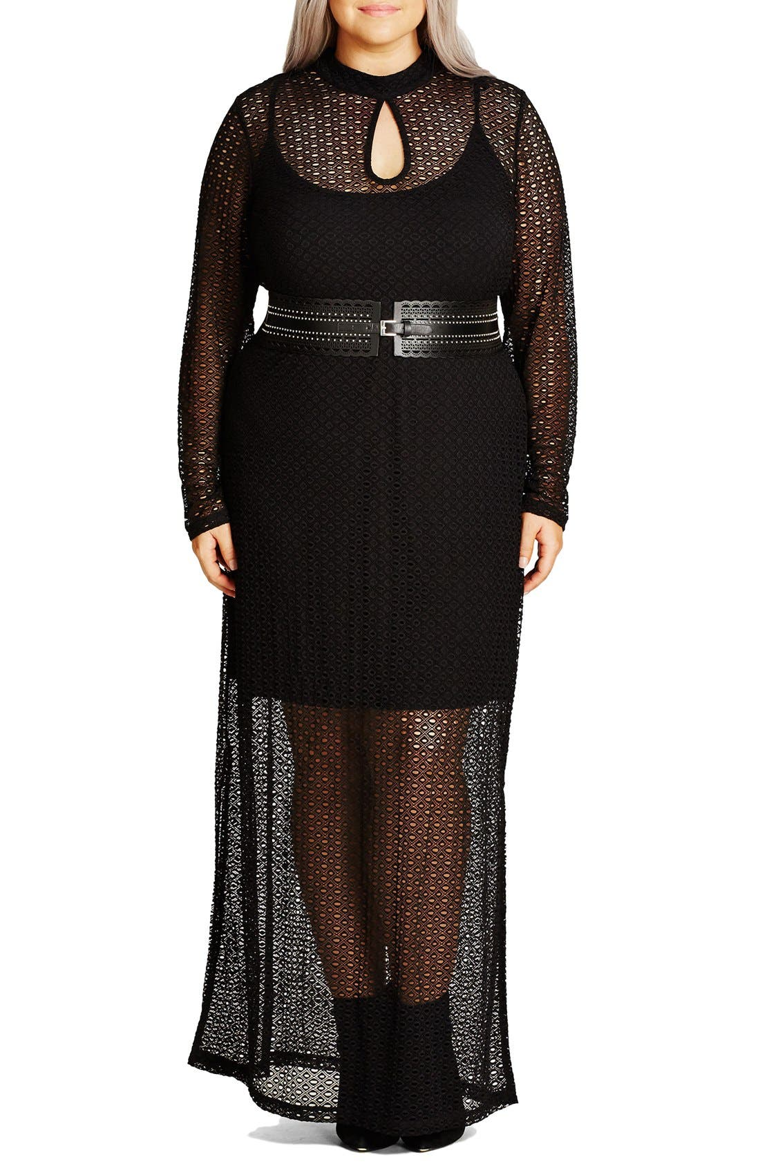 Alternate Image 1 Selected - City Chic Geo Lace Maxi Dress (Plus Size)
