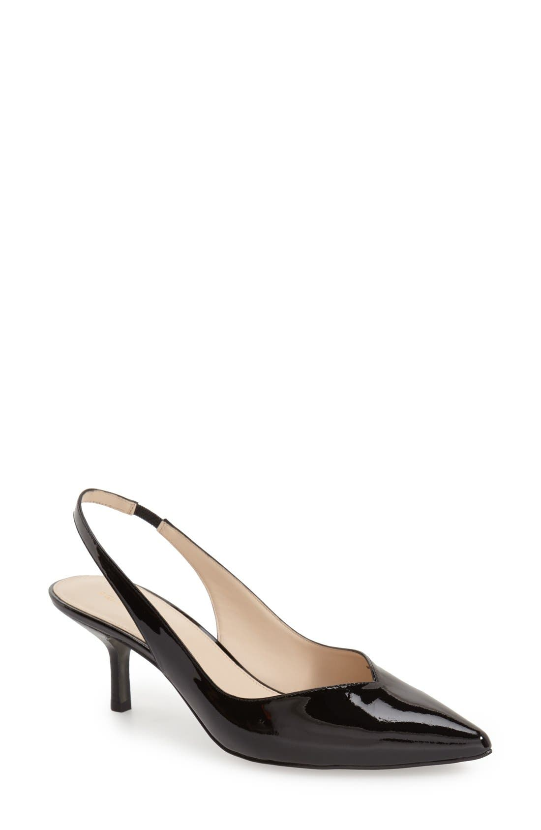 'Oasis' Slingback Pump,                             Main thumbnail 1, color,                             Black Patent Leather