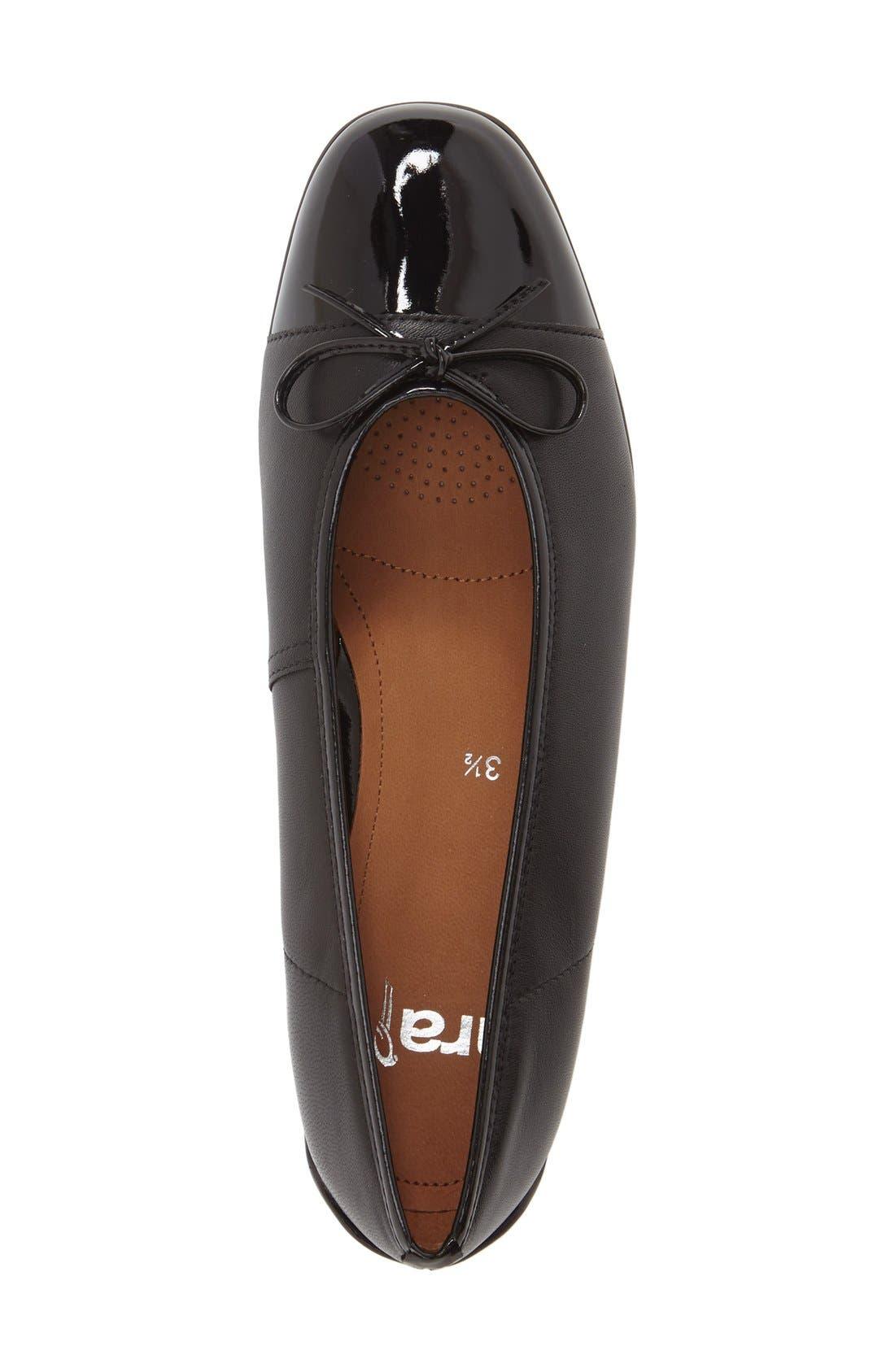 'Bella' Flat,                             Alternate thumbnail 3, color,                             Black Leather