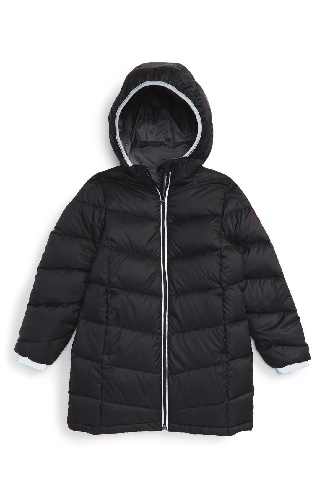 'Madeline' Hooded Down Jacket,                             Main thumbnail 1, color,                             Black