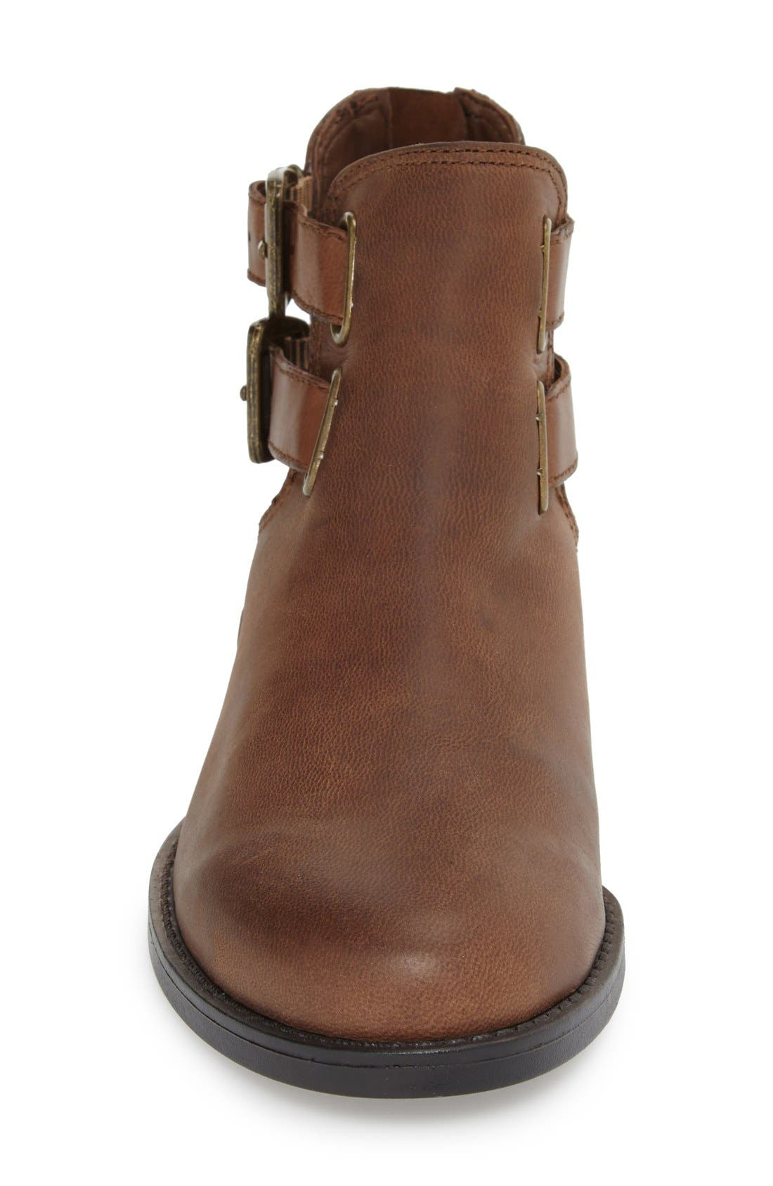 'Ramona' Double Buckle Bootie,                             Alternate thumbnail 3, color,                             Camel Leather