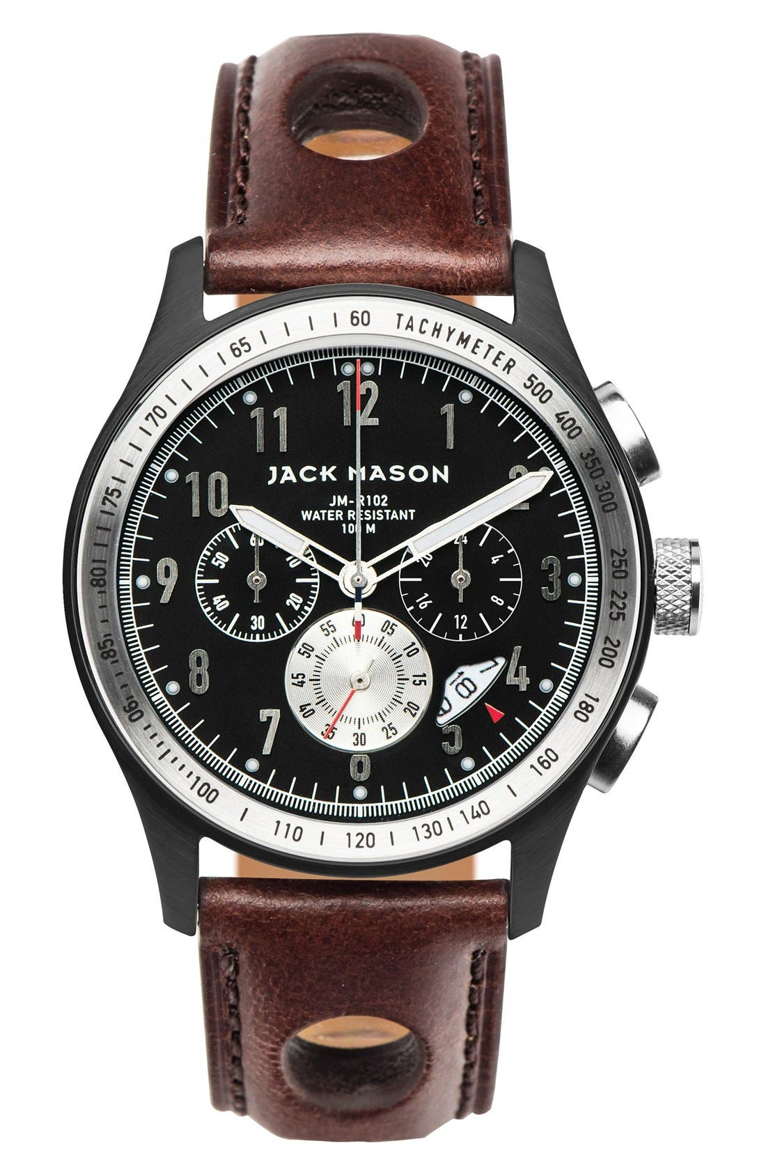 Alternate Image 1 Selected - Jack Mason Chronograph Leather Strap Watch, 42mm