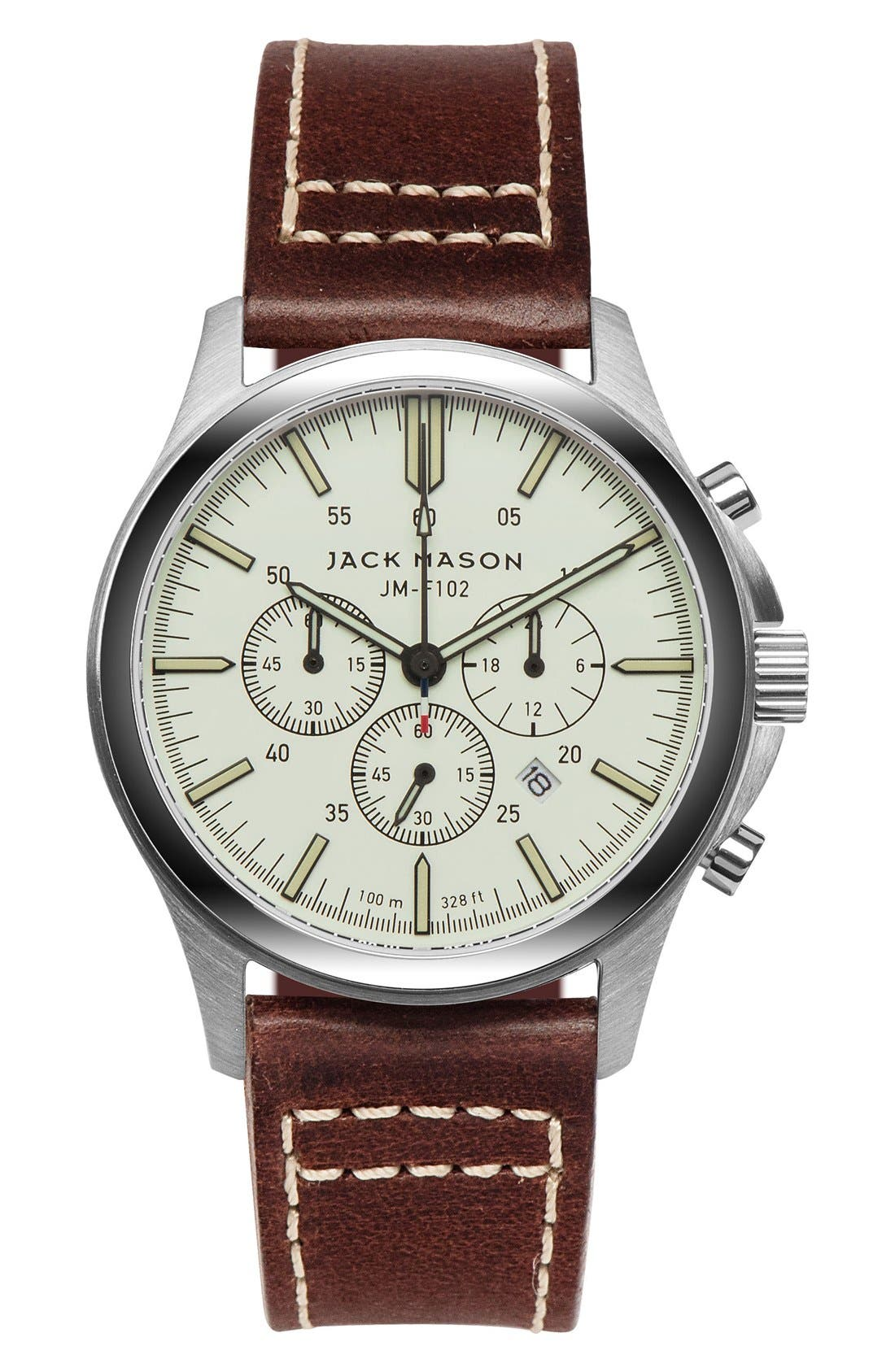 Chronograph Leather Strap Watch, 42mm,                             Main thumbnail 1, color,                             Khaki/ Brown