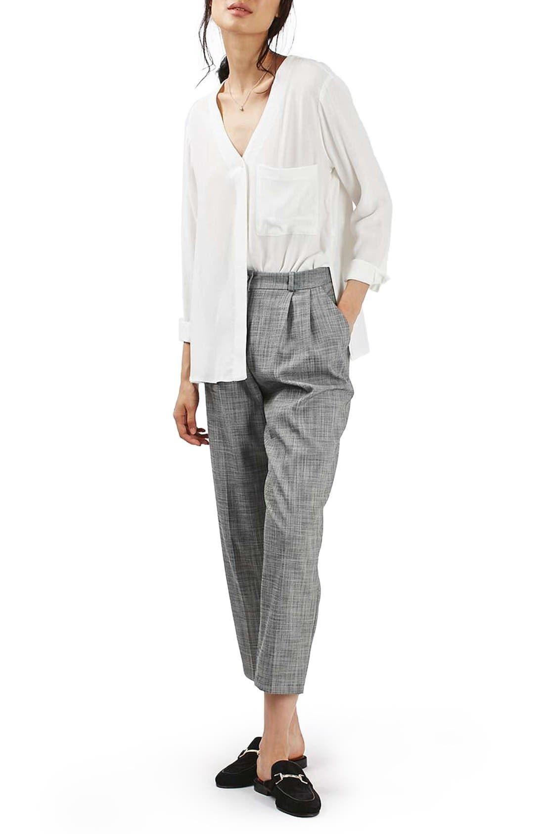 Alternate Image 2  - Topshop Crosshatch Crop Trousers