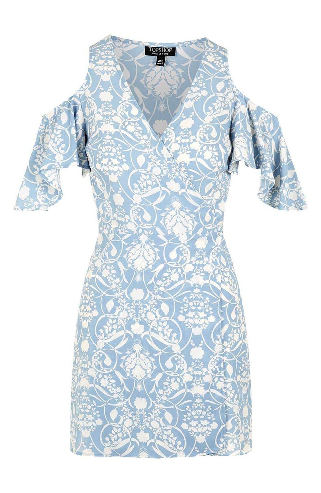 Alternate Image 4  - Topshop Floral Print Cold Shoulder Wrap Dress