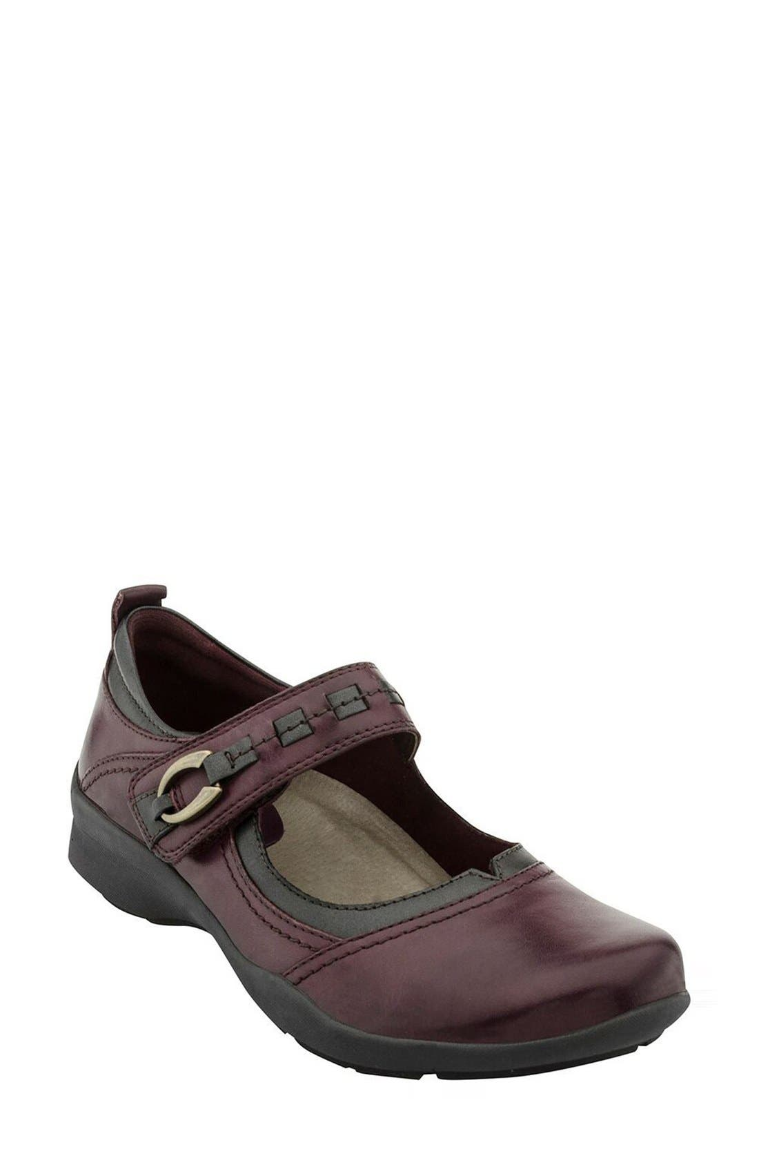 'Angelica' Mary Jane Flat,                         Main,                         color, Prune Leather