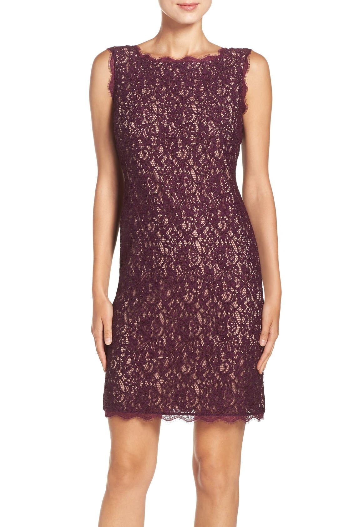 Boatneck Lace Sheath Dress,                             Main thumbnail 1, color,                             Mulberry Nude
