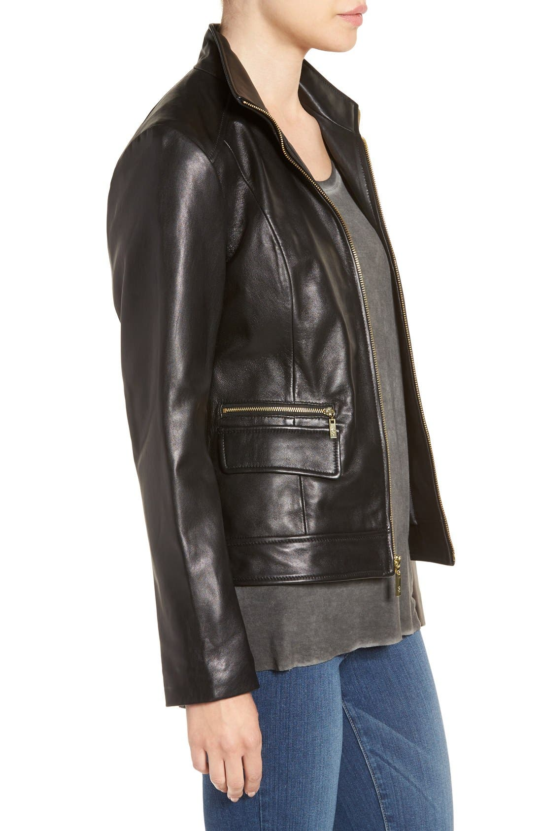Wing Collar Leather Jacket,                             Alternate thumbnail 3, color,                             Black