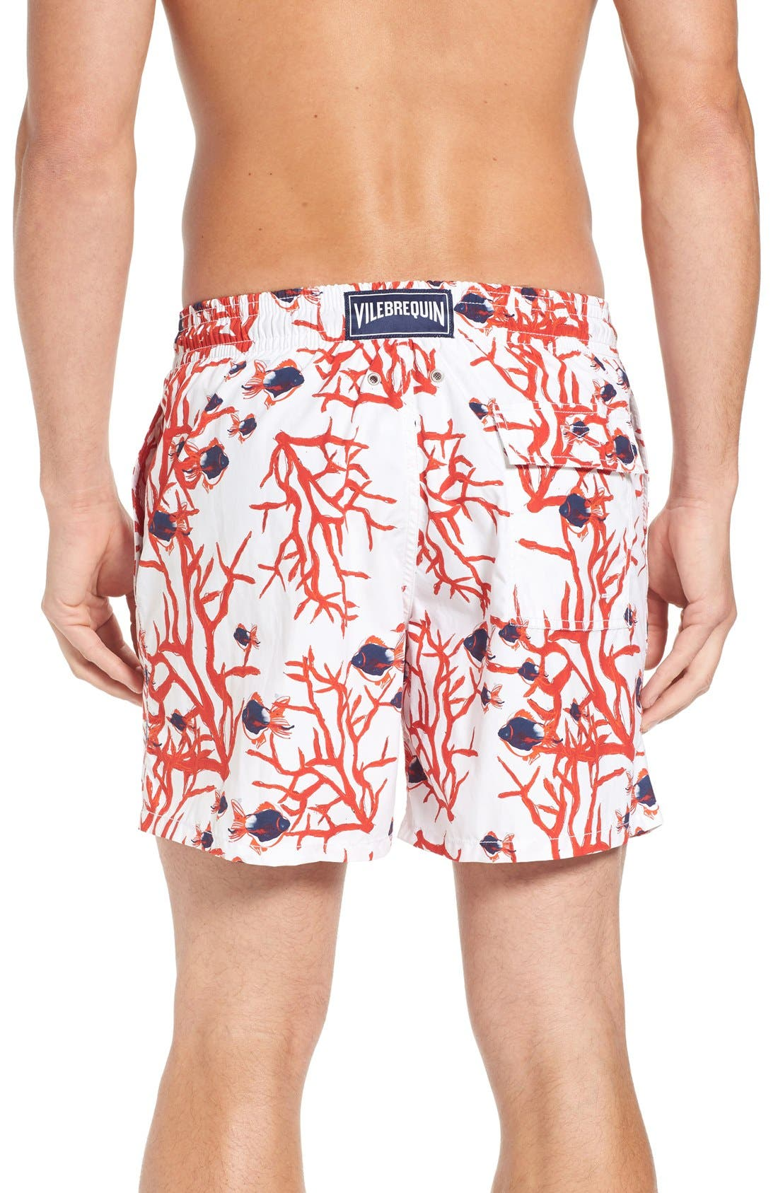 Coral & Fish Print Swim Trunks,                             Alternate thumbnail 2, color,                             White