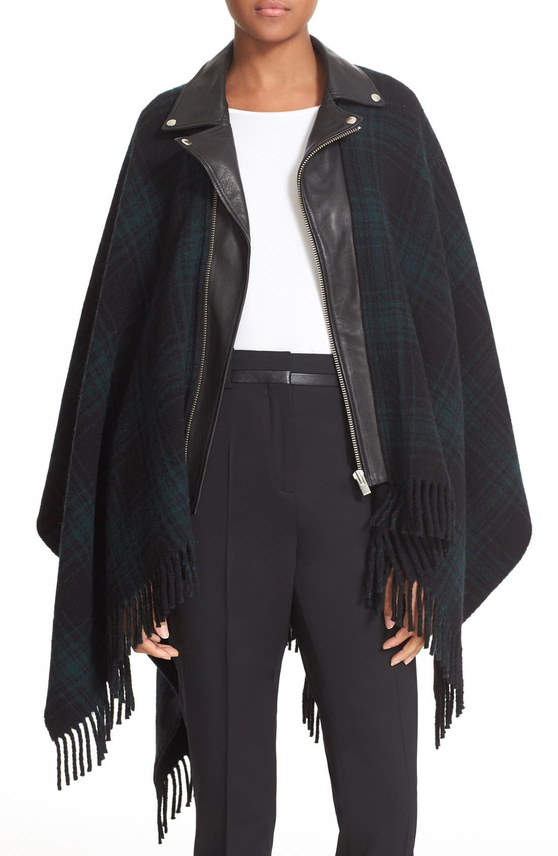 Main Image - The Kooples Leather Collar Wool Blend Poncho