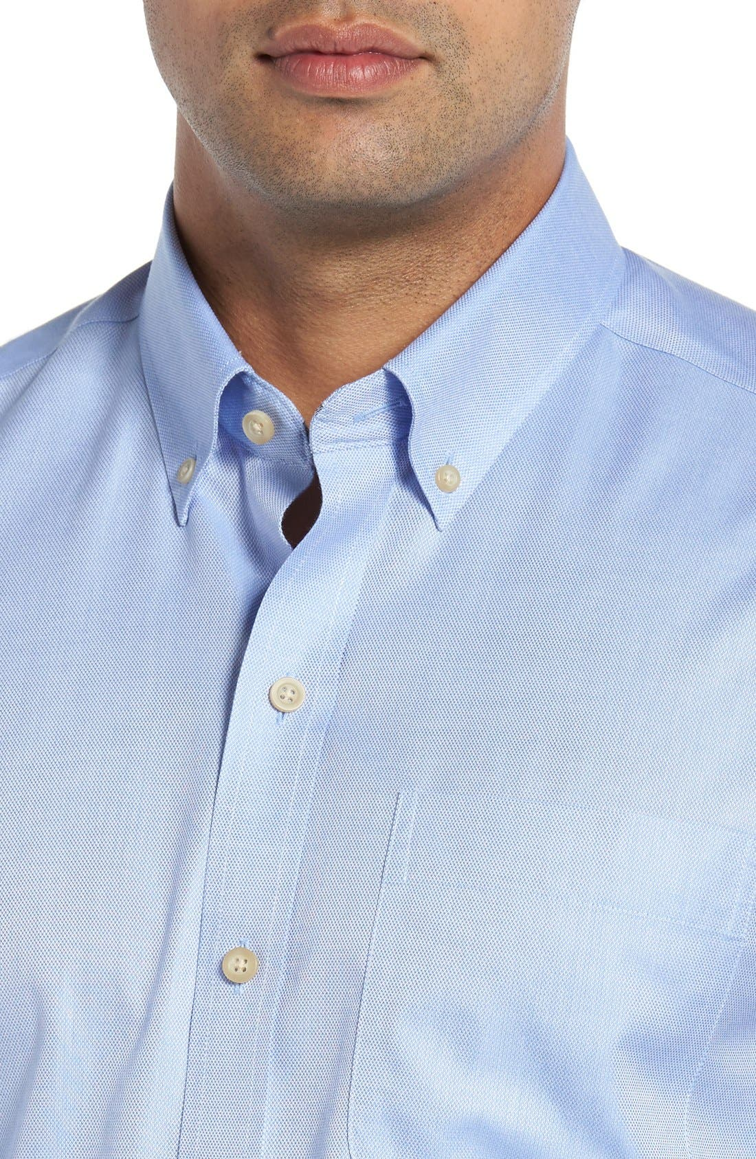 San Juan Classic Fit Wrinkle Free Solid Sport Shirt,                             Alternate thumbnail 4, color,                             Blue