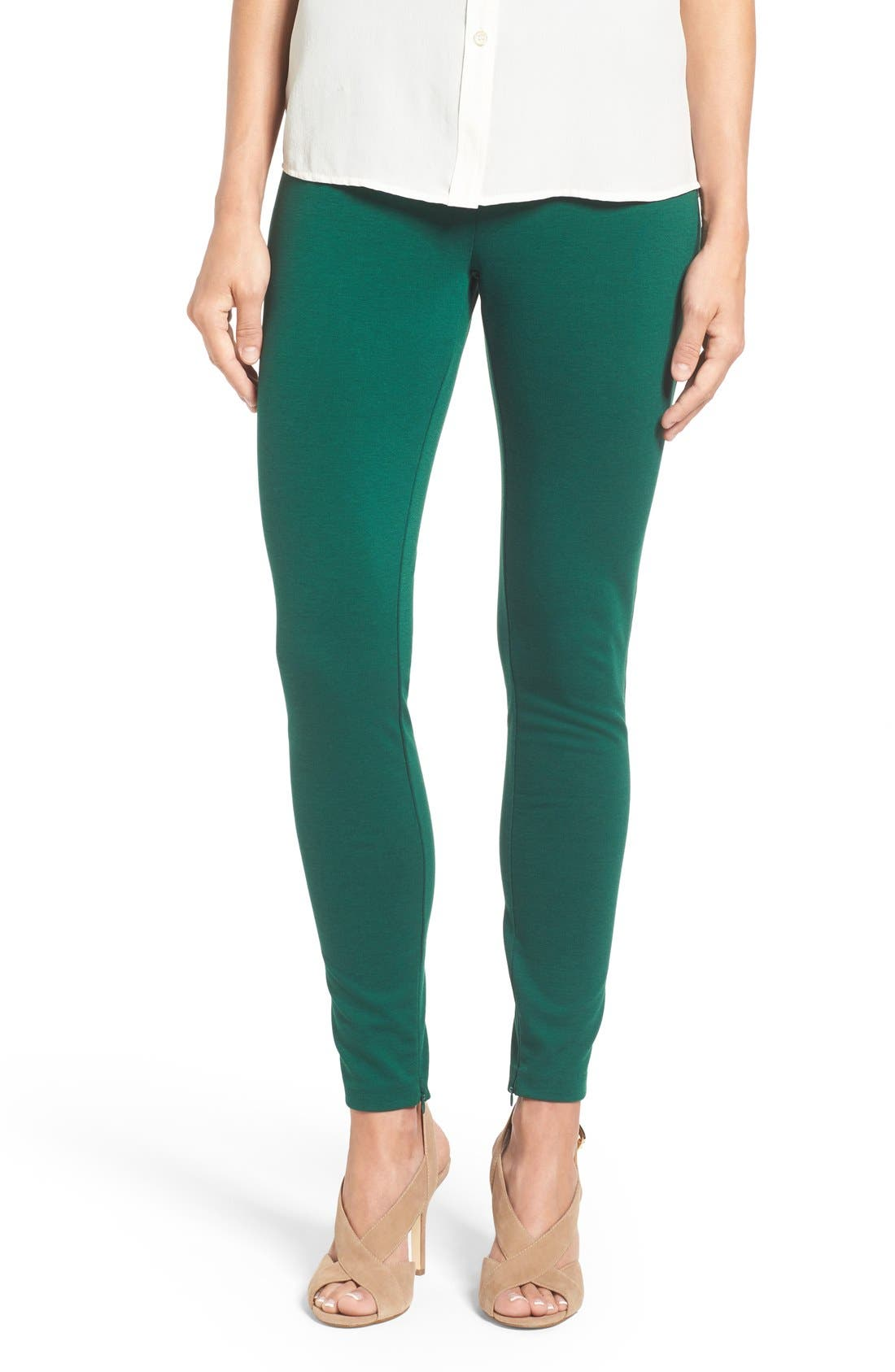 Ponte Knit Leggings,                         Main,                         color, Deep Emerald