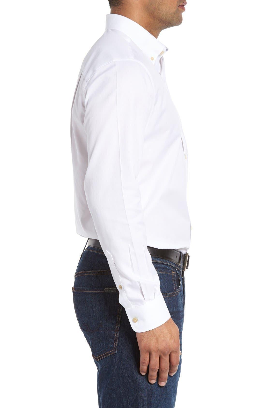 San Juan Classic Fit Wrinkle Free Solid Sport Shirt,                             Alternate thumbnail 3, color,                             White