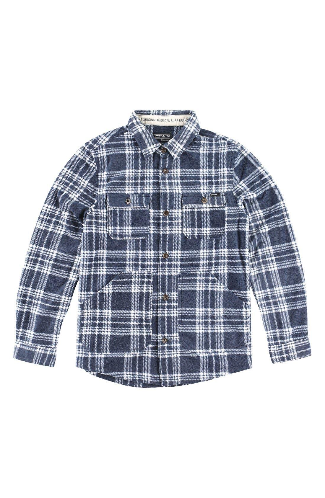 Main Image - O'Neill 'Glacier' Check Long Sleeve Fleece Shirt (Big Boys)