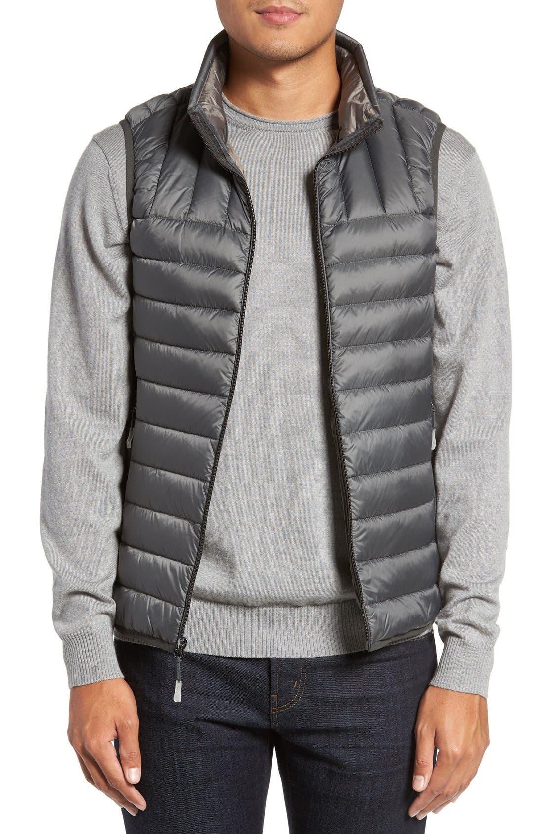 Packable Down Vest,                         Main,                         color, Slate Grey