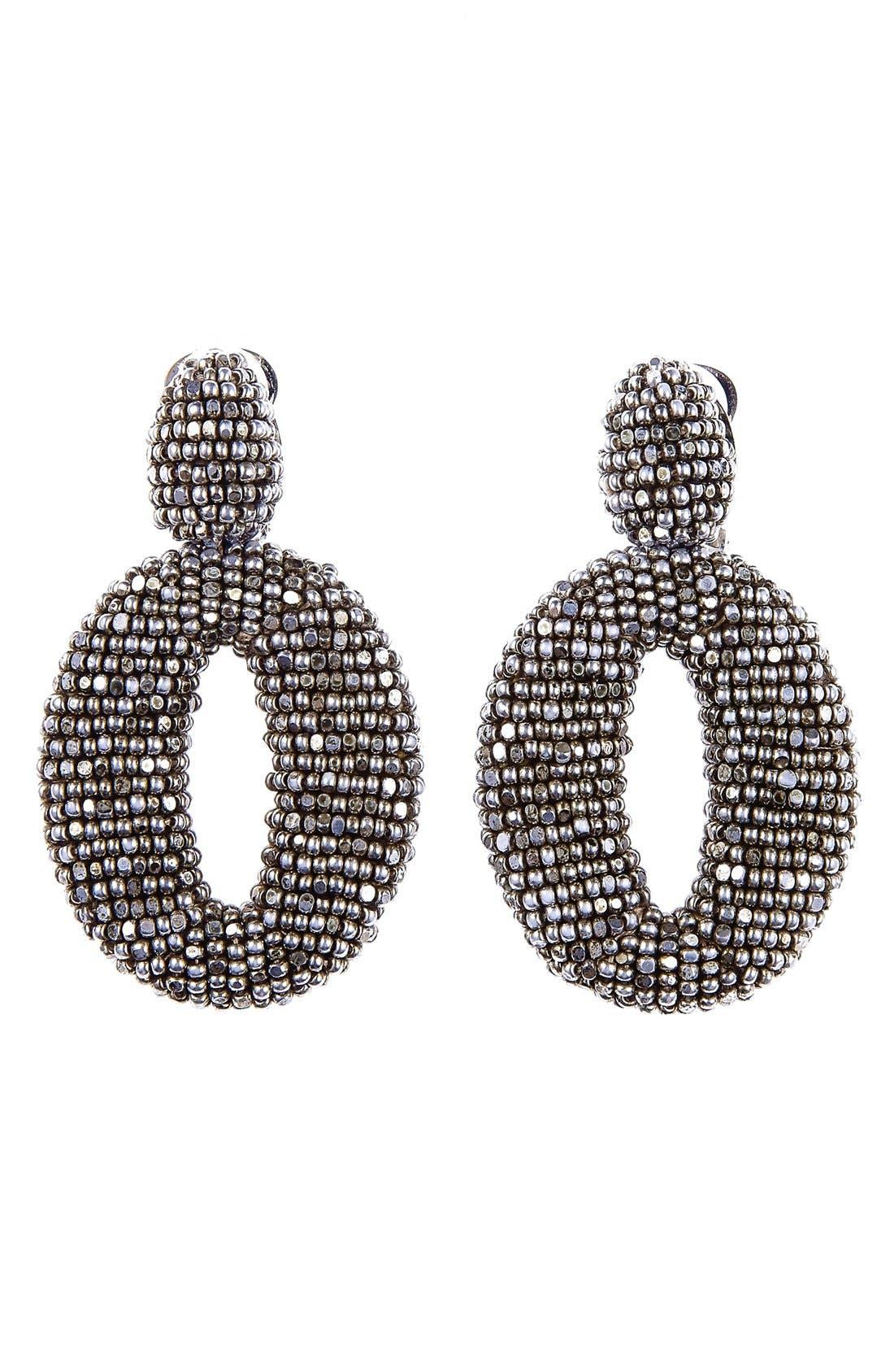 Alternate Image 1 Selected - Oscar de la Renta Beaded Frontal Hoop Clip Earrings