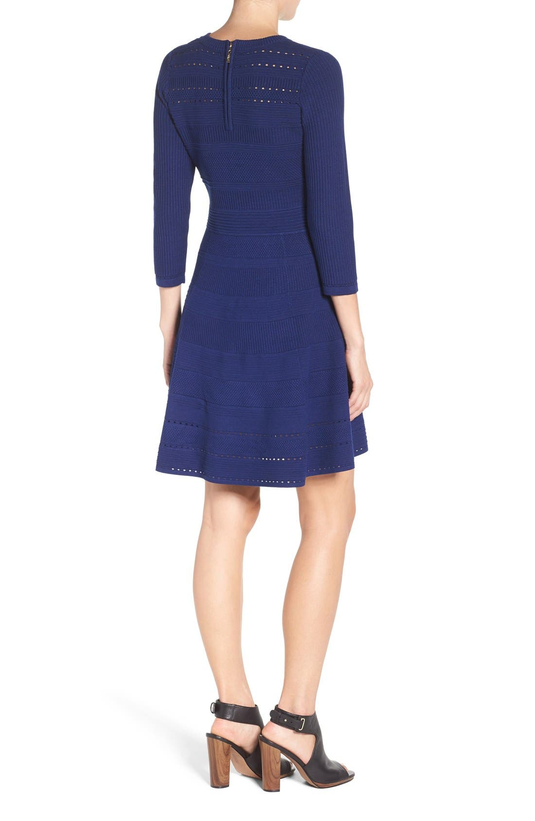 Knit Fit & Flare Dress,                             Alternate thumbnail 3, color,                             Navy