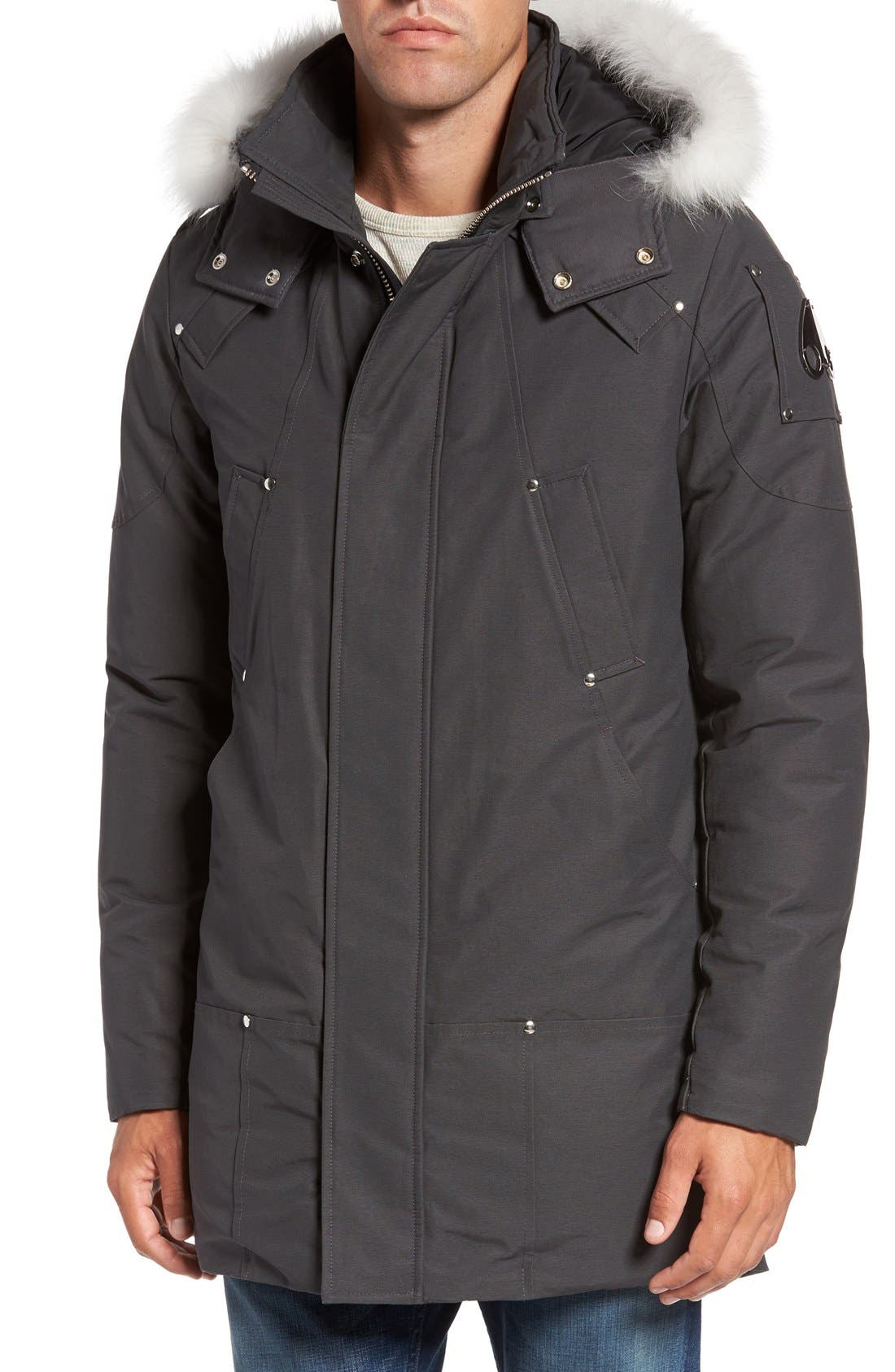 Stirling Water Repellent Down Parka with Genuine Fox Fur Trim,                         Main,                         color, Grey