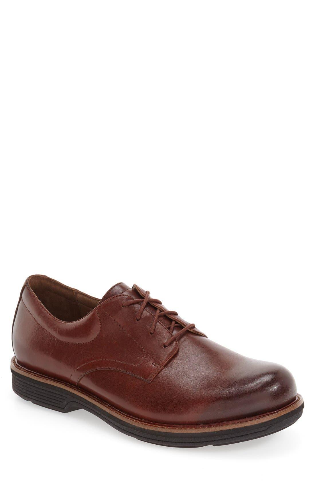 'Josh' Plain Toe Derby,                             Main thumbnail 1, color,                             Mahogany Antiqued Calf Leather