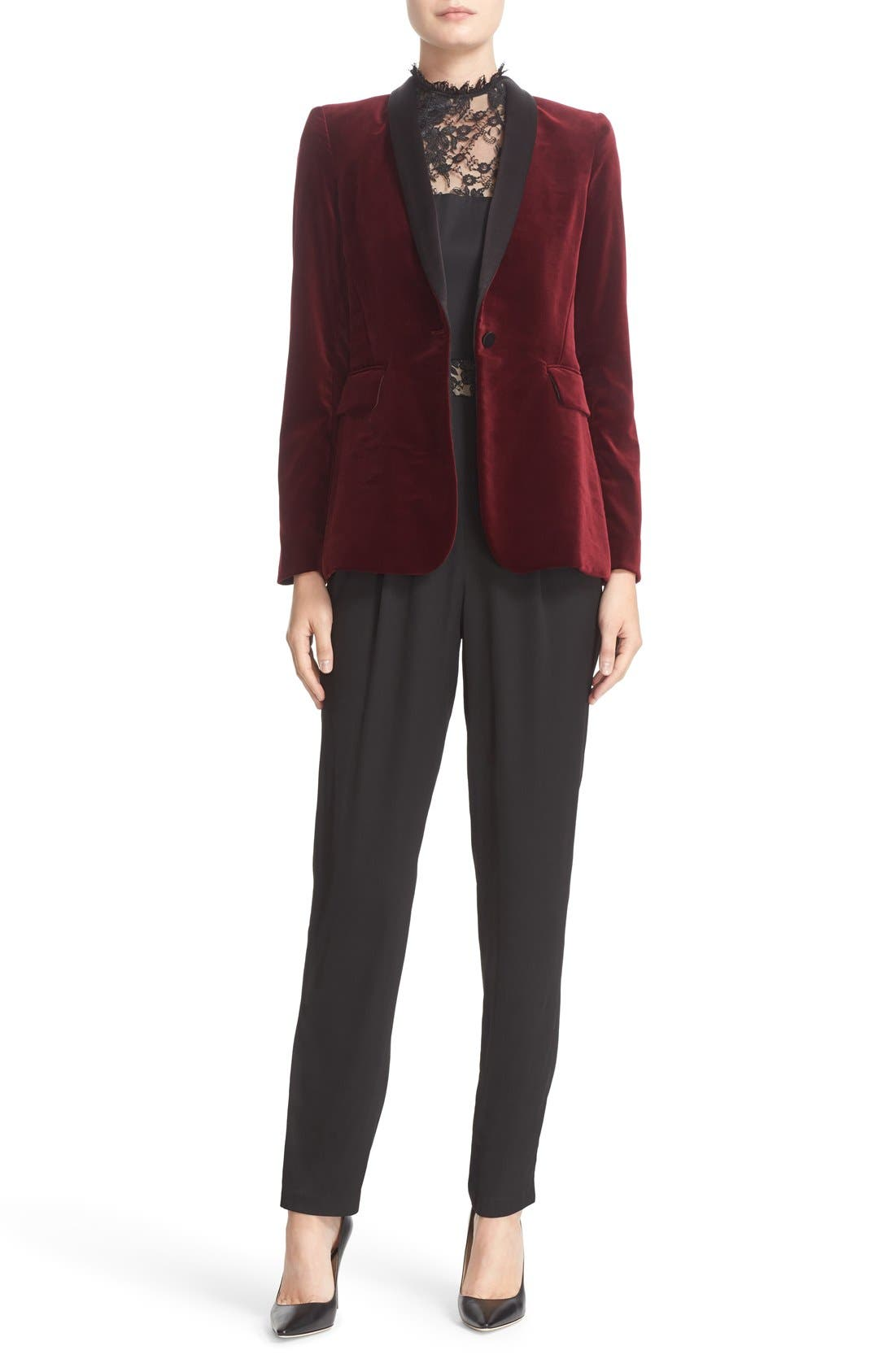 'Macey' Satin Lapel Velvet One-Button Blazer,                             Alternate thumbnail 2, color,                             Bordeaux/ Black