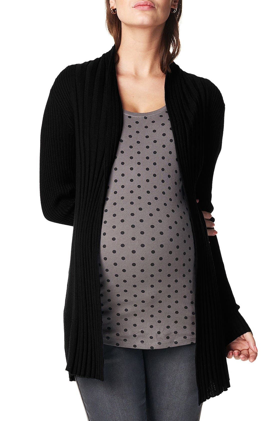 'Anne' Rib Knit Maternity Cardigan,                             Main thumbnail 1, color,                             Black