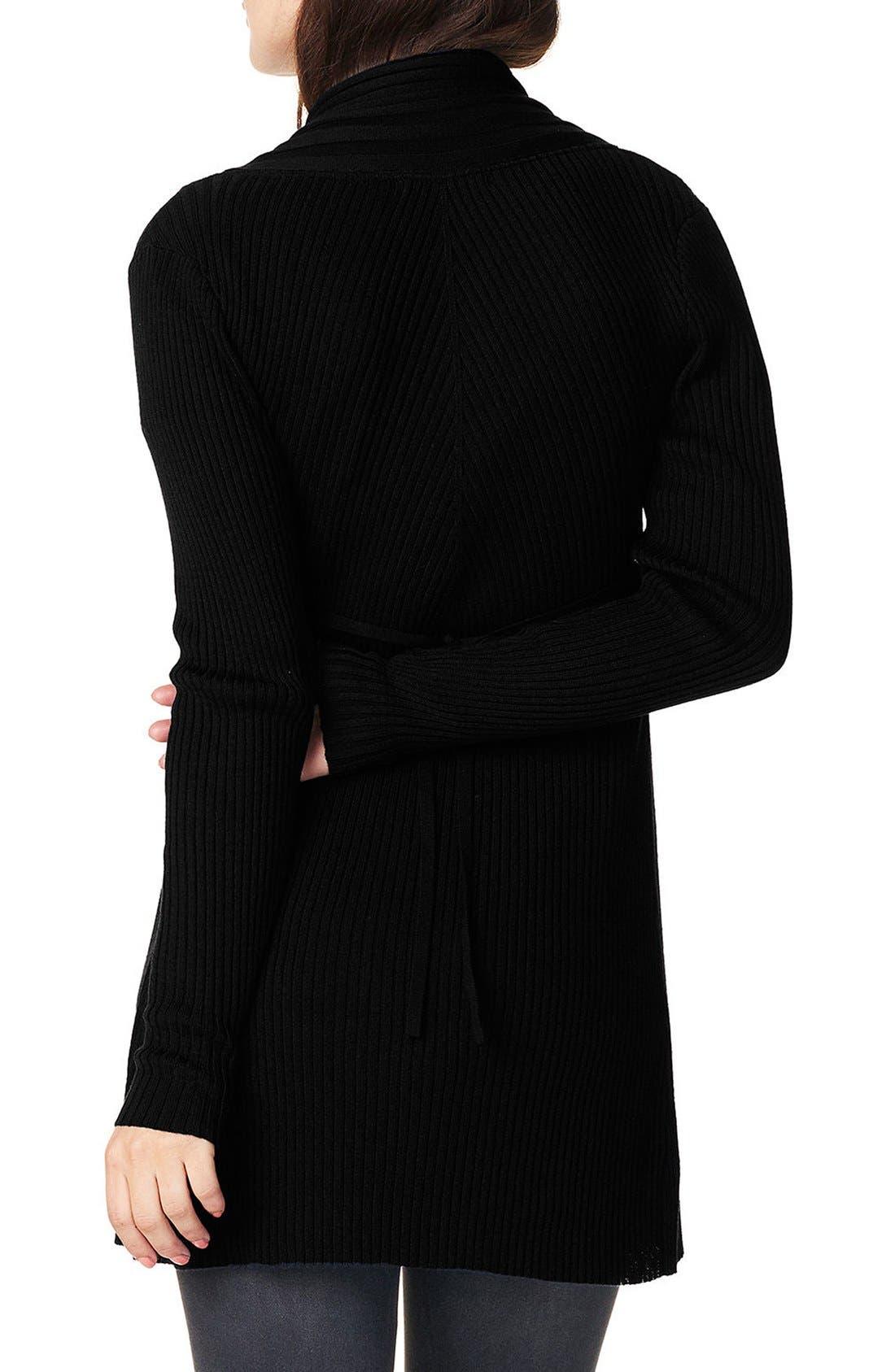 'Anne' Rib Knit Maternity Cardigan,                             Alternate thumbnail 6, color,                             Black