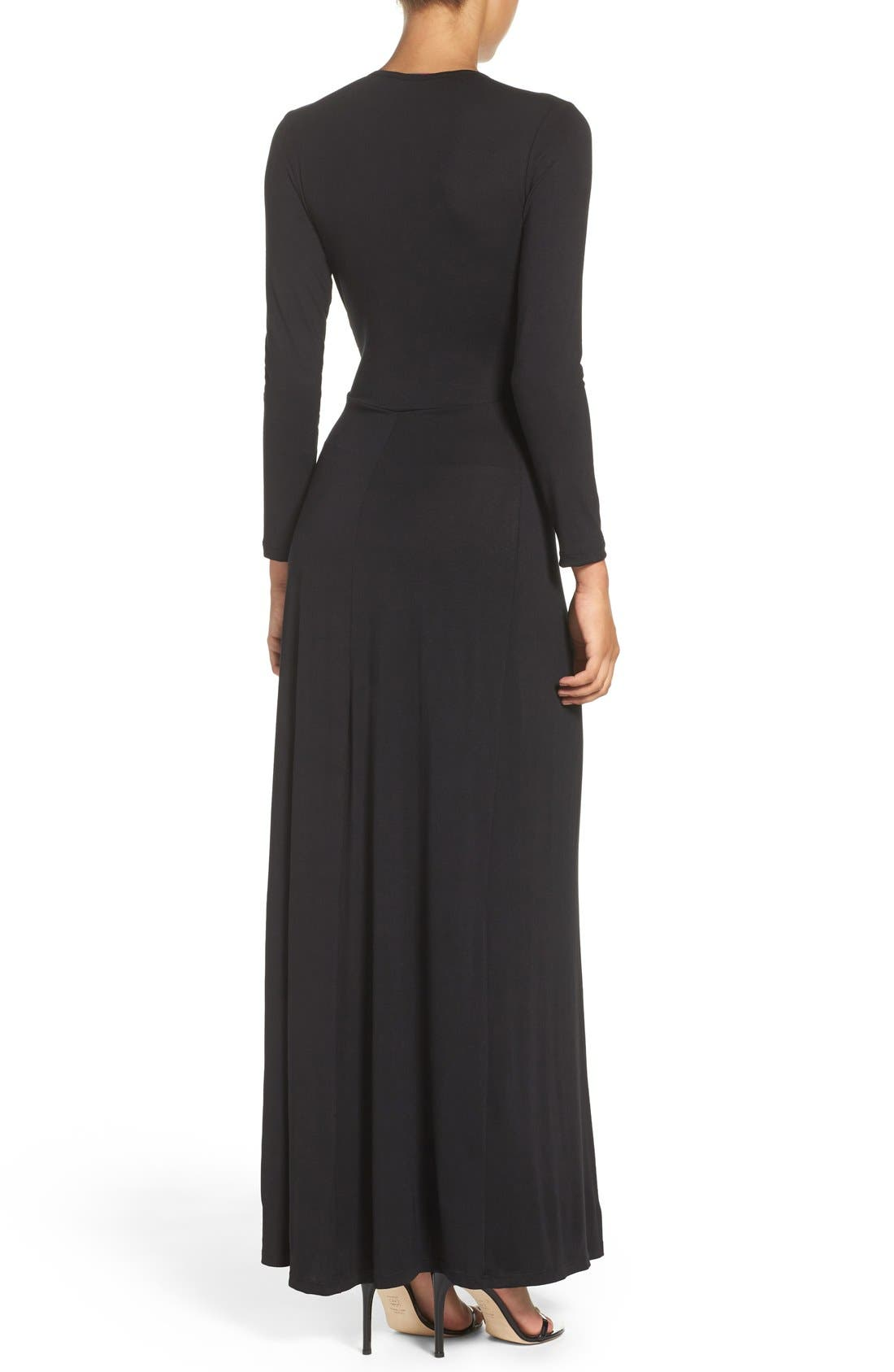 Plunge Neck Jersey Gown,                             Alternate thumbnail 2, color,                             Black