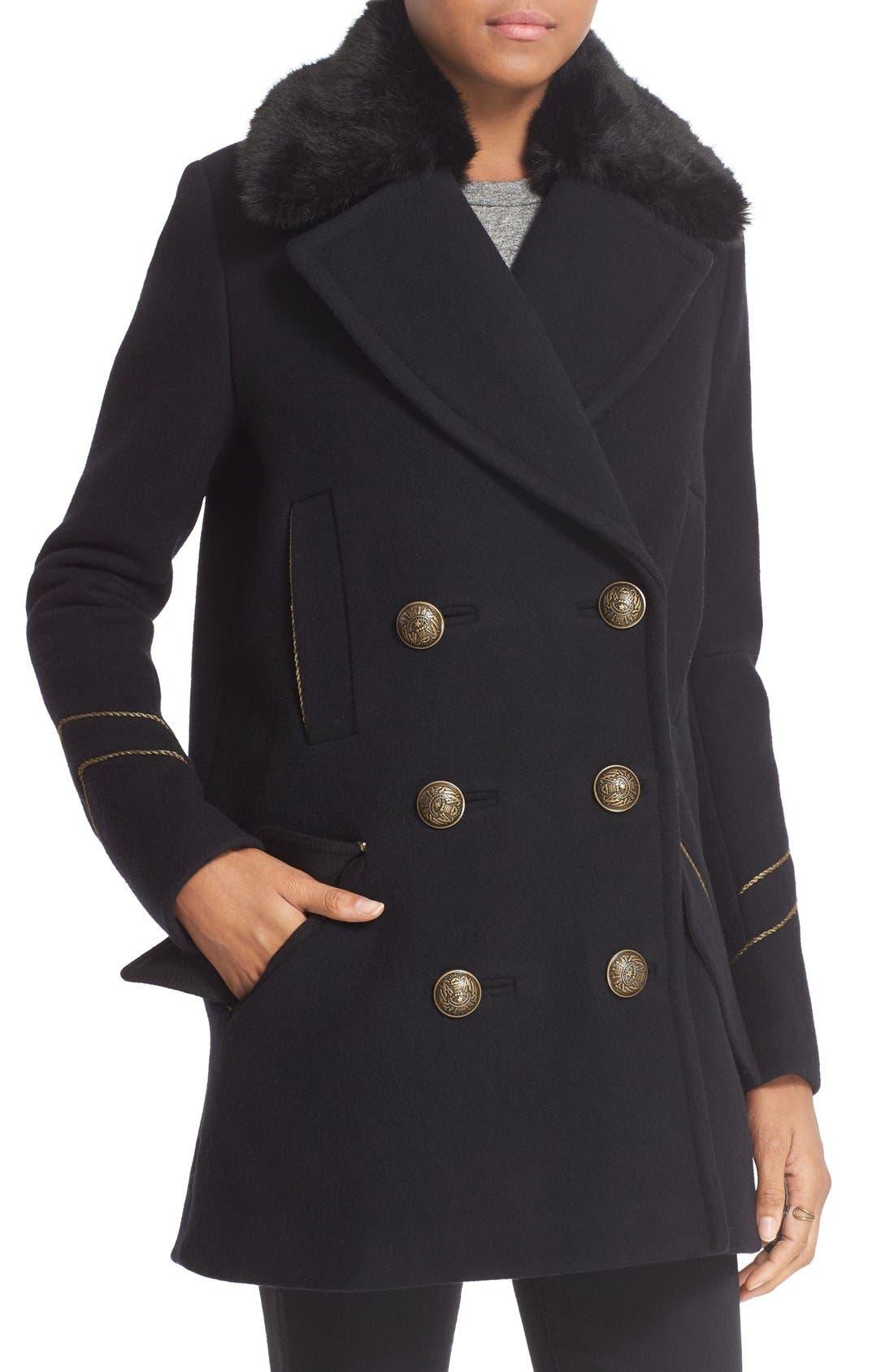 'Sedgwick' Detachable Faux Fur Collar Peacoat,                             Alternate thumbnail 5, color,                             Navy