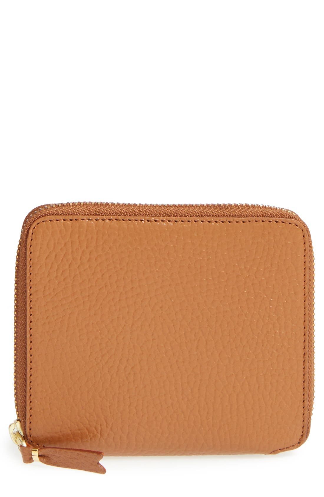 Leather Wallet,                             Main thumbnail 1, color,                             Brown/ Orange