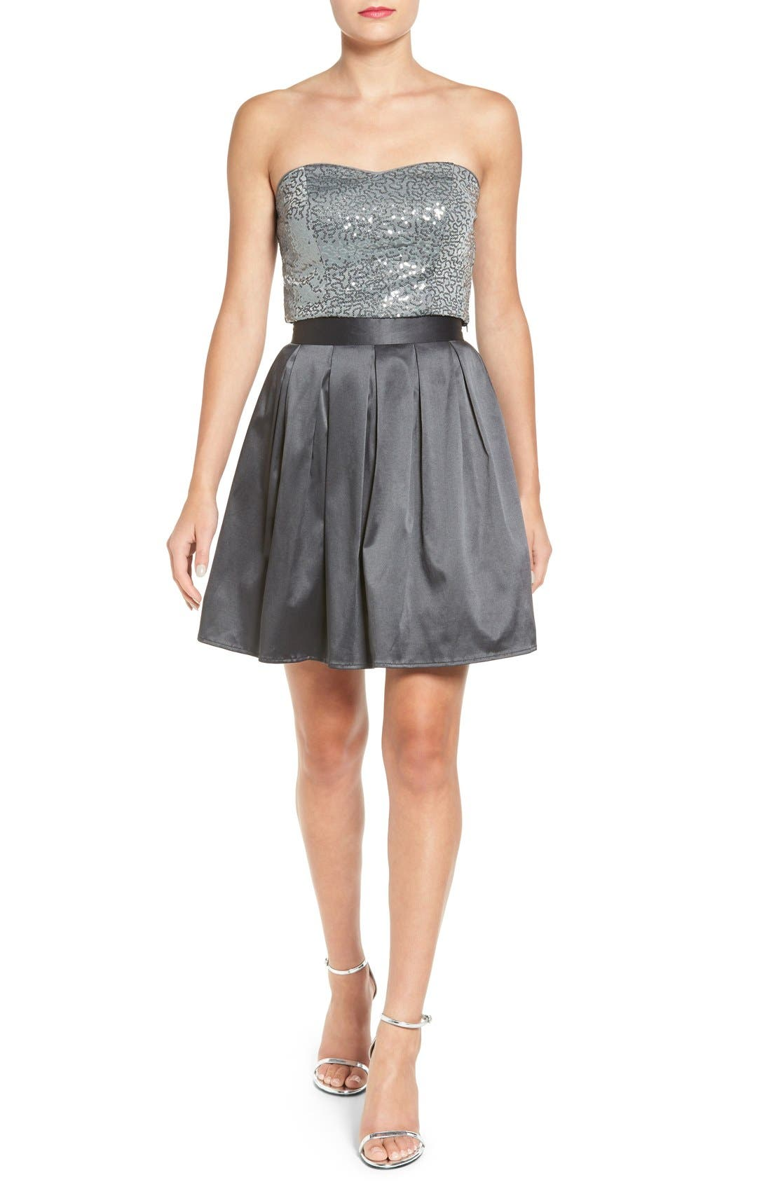 Main Image - Love, Nickie Lew Two-Piece Strapless Sequin Skater Dress