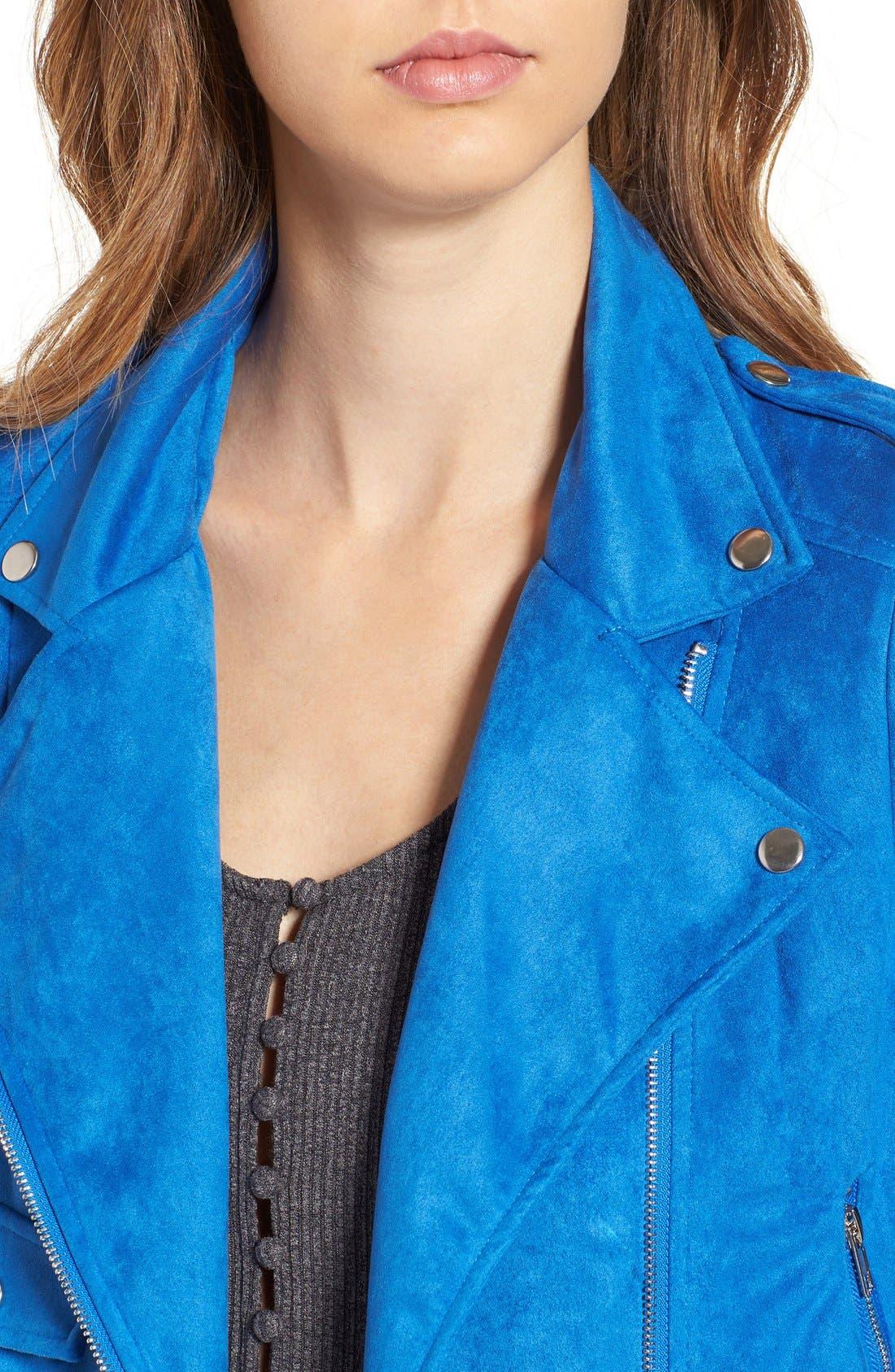 Alternate Image 5  - Missguided Crop Faux Suede Moto Jacket