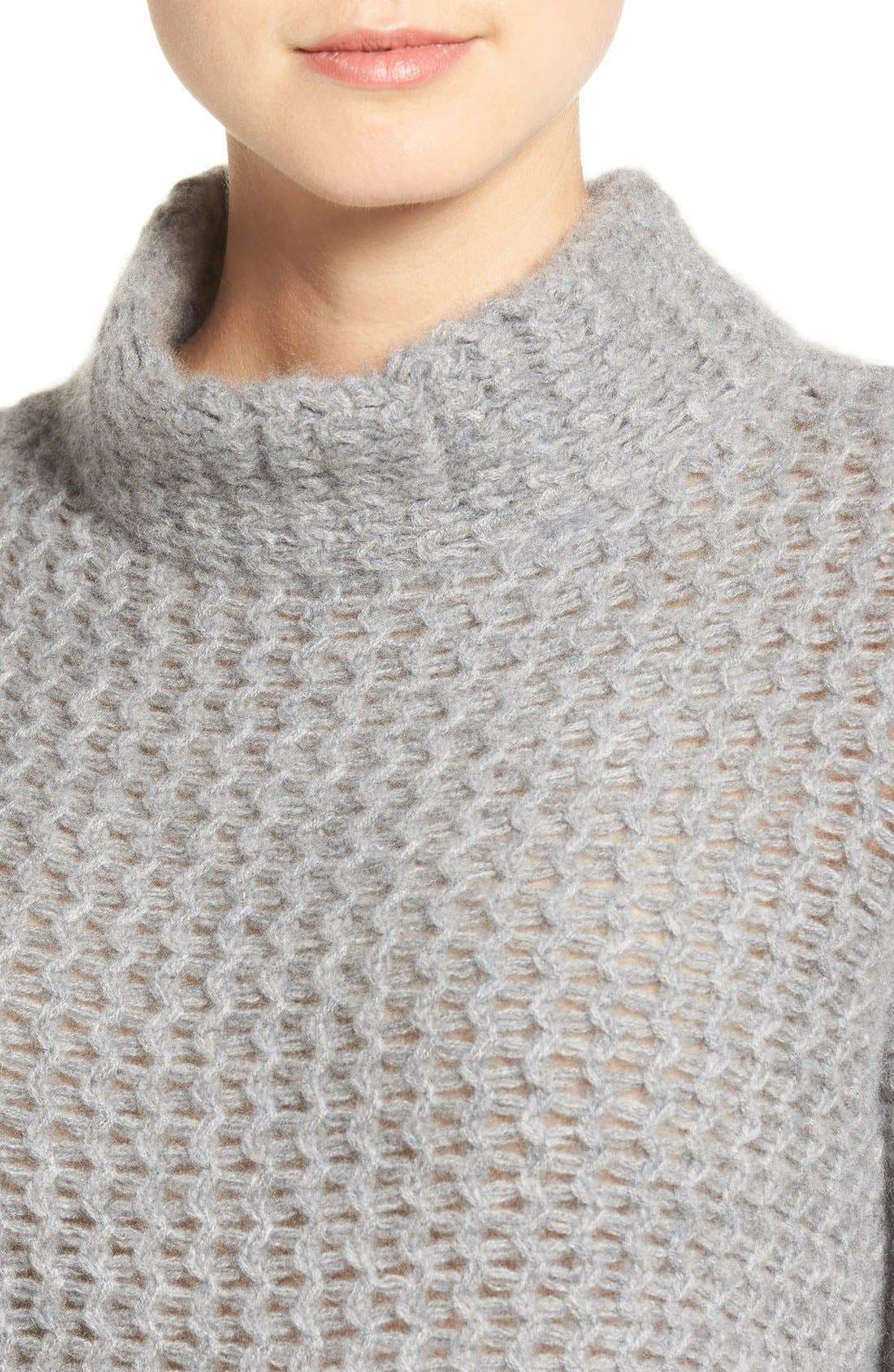 Stitch Detail Cashmere Mock Neck Sweater,                             Alternate thumbnail 5, color,                             Grey