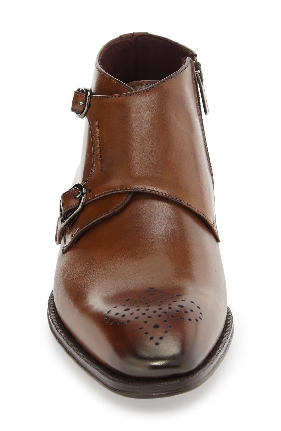 'Rocca' Midi Double Monk Strap Boot,                             Alternate thumbnail 3, color,                             Cognac