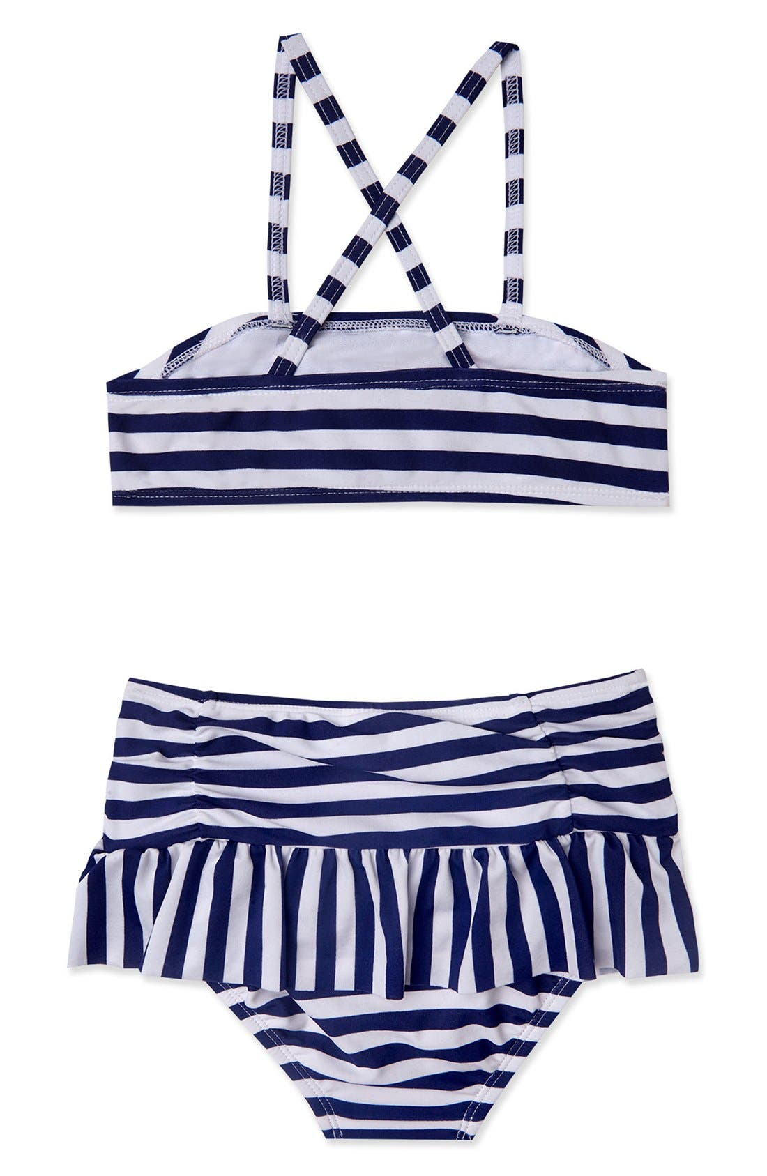 'Ships Ahoy' Two-Piece Swimsuit,                             Alternate thumbnail 2, color,                             Navy White
