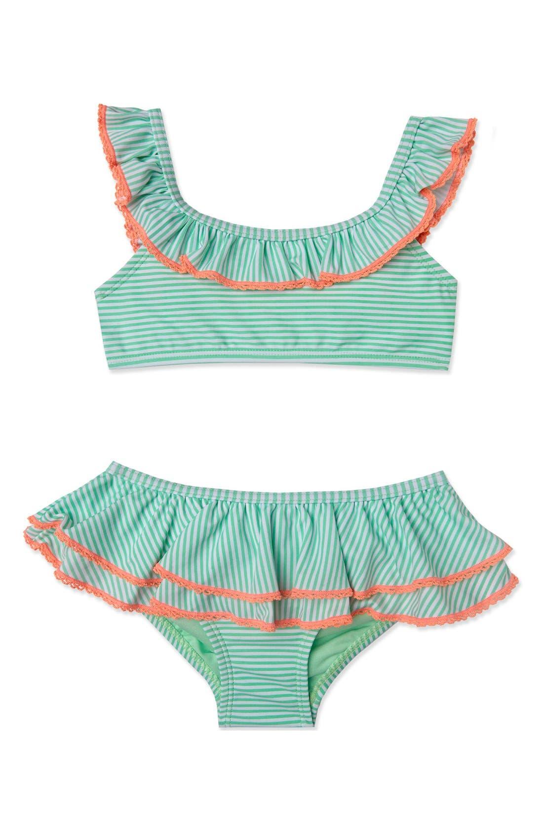 'Sailor Stripe' Two-Piece Swimsuit,                         Main,                         color, Mint