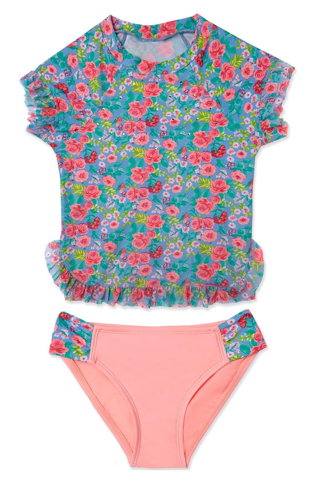 'Rose Tango' Two-Piece Rashguard Swimsuit,                             Main thumbnail 1, color,                             Blue