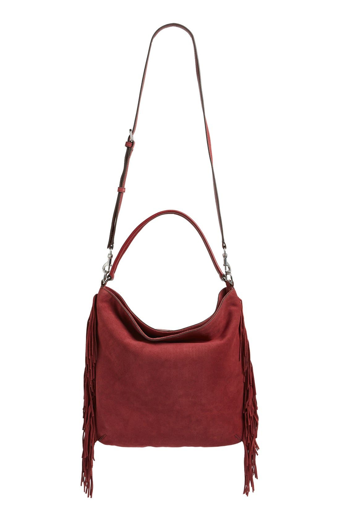 Alternate Image 1 Selected - Rebecca Minkoff Clark Fringe Suede Hobo Bag