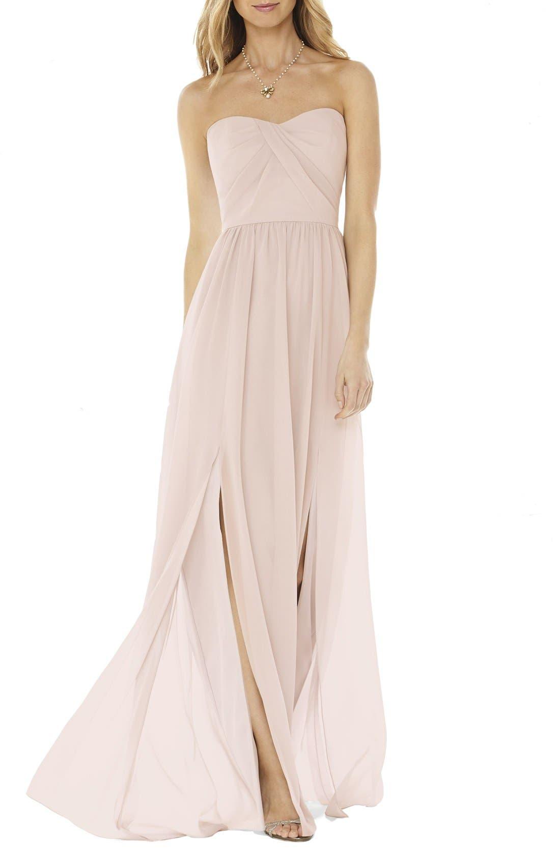 long bridesmaid chiffon cream dress